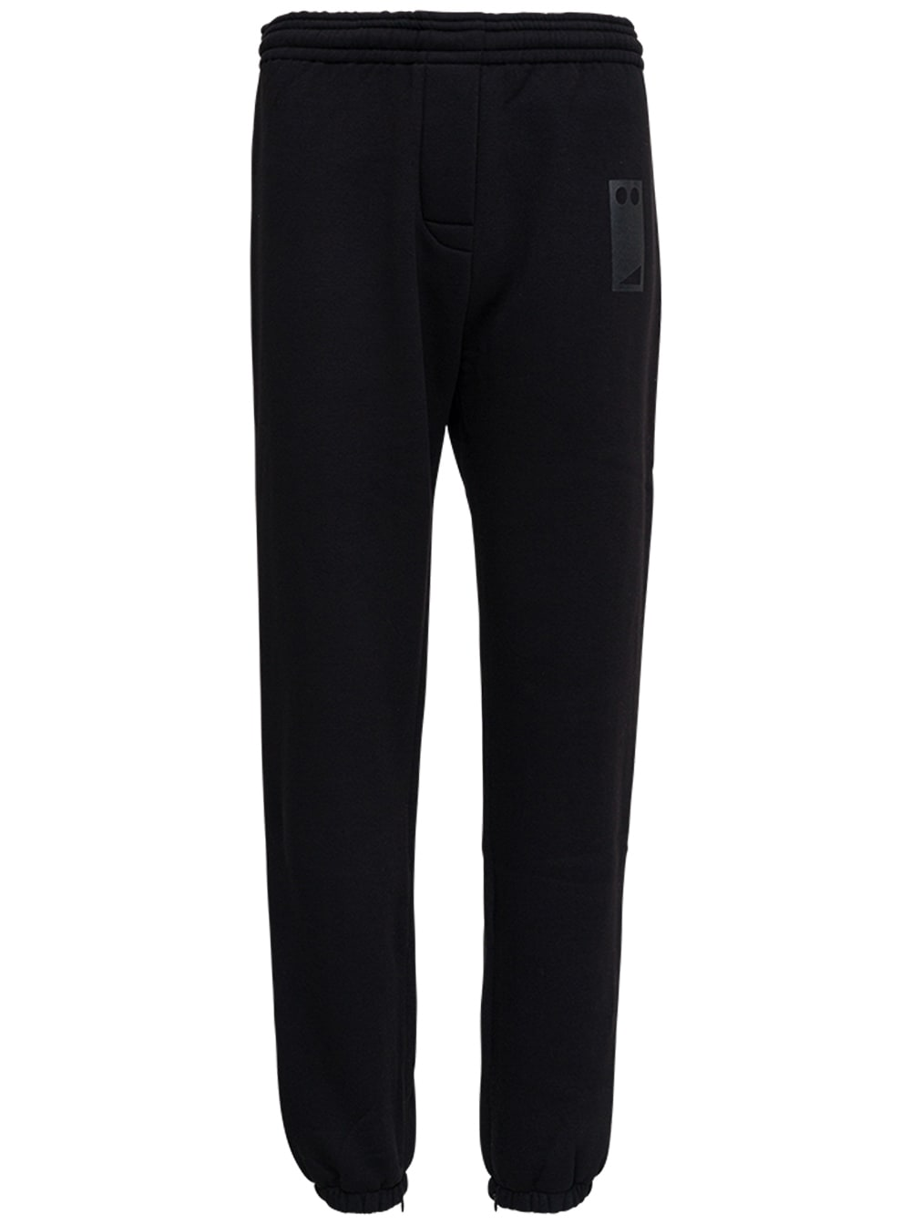 Black Cotton Joggers With Drawstring