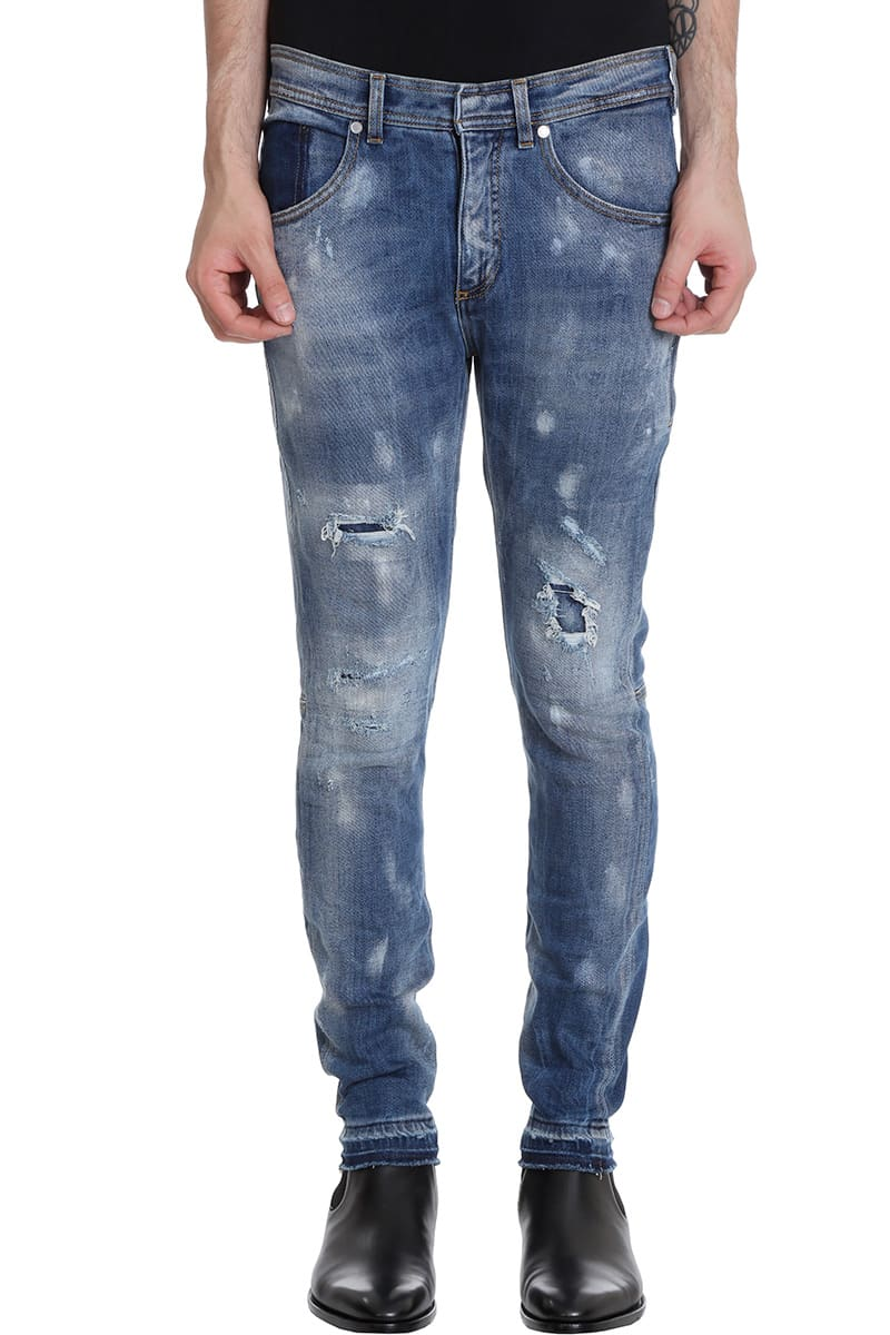 Neil Barrett Jeans In Cyan Denim