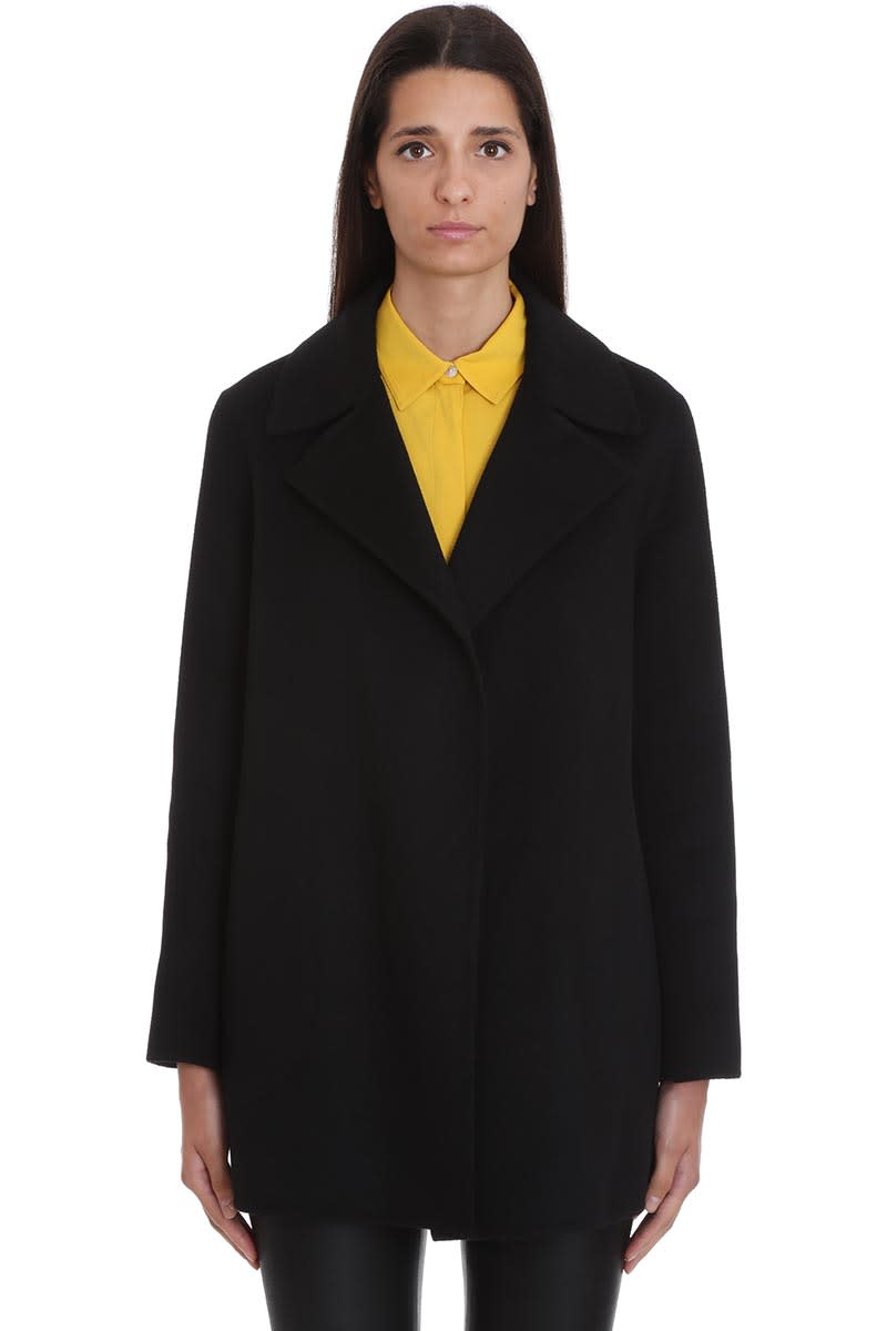 Theory Coat In Black Wool