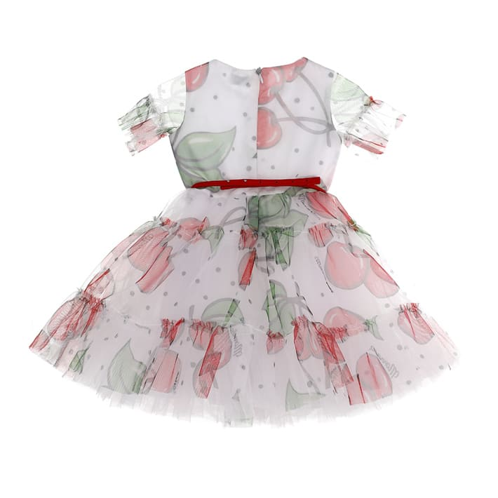 Buy Monnalisa Cherry Print Tulle Dress online, shop Monnalisa with free shipping