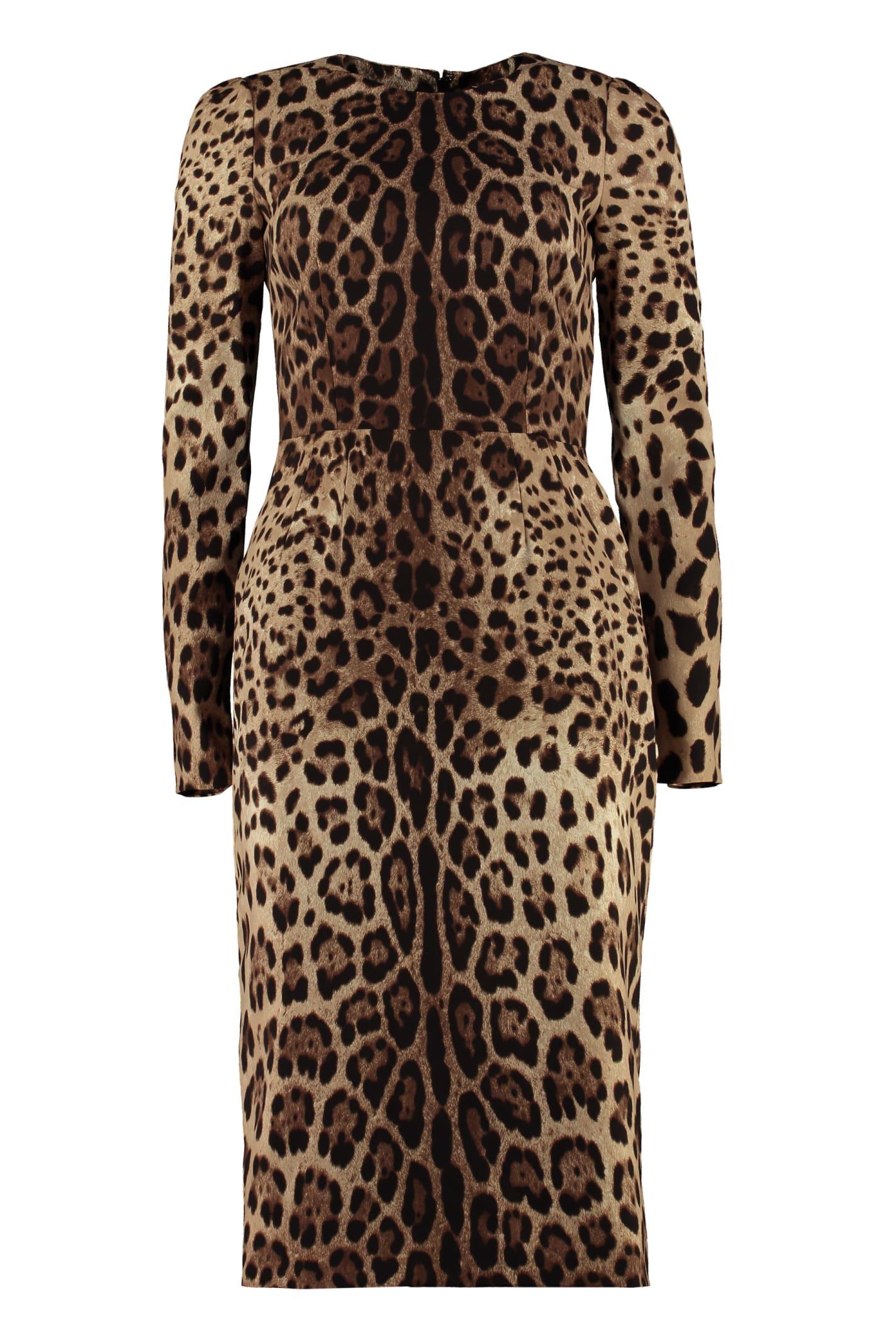 Dolce & Gabbana Leopard Print Silk Sheath-dress