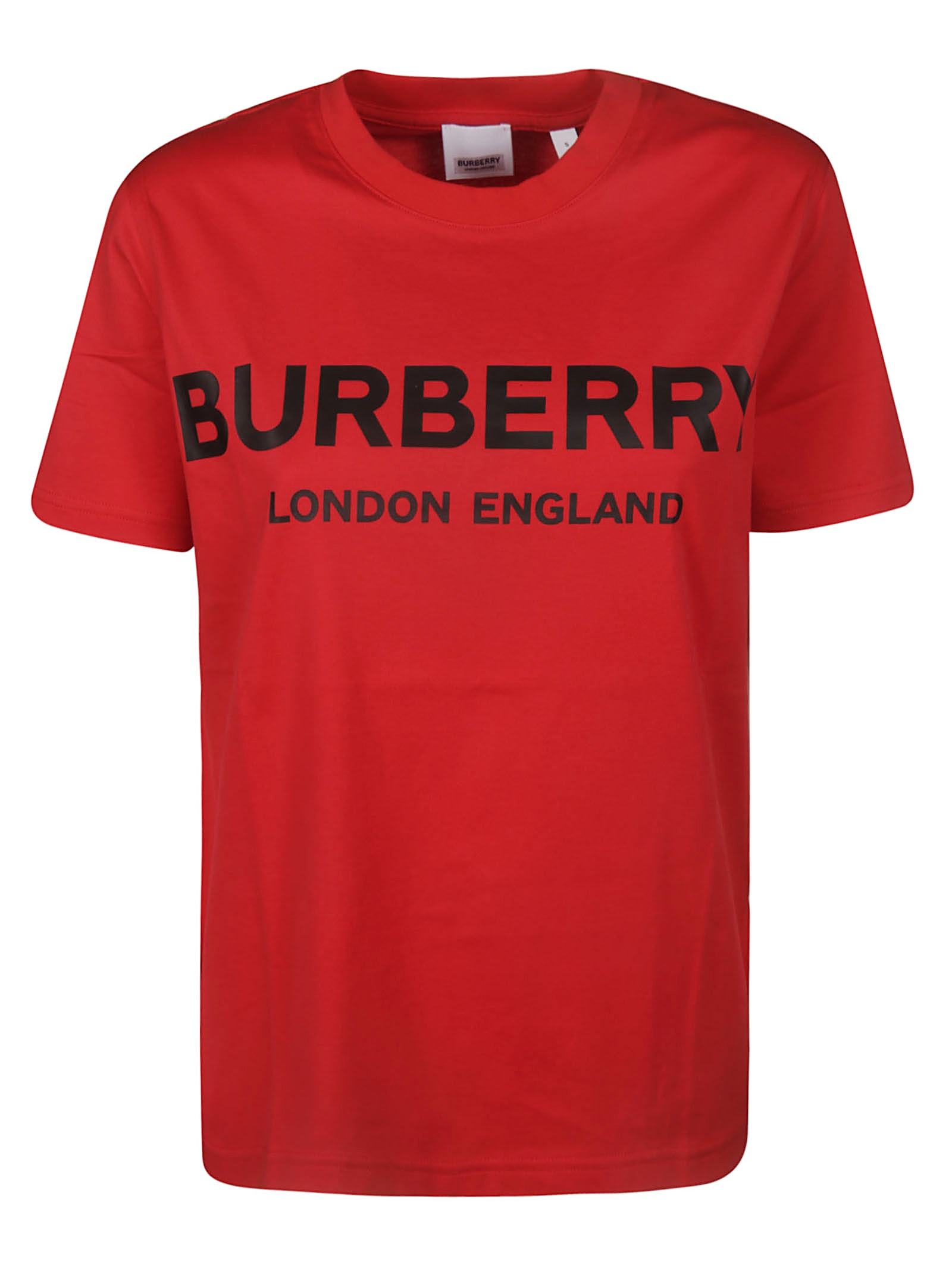 Burberry Round Neck Logo T-Shirt In Bright Red