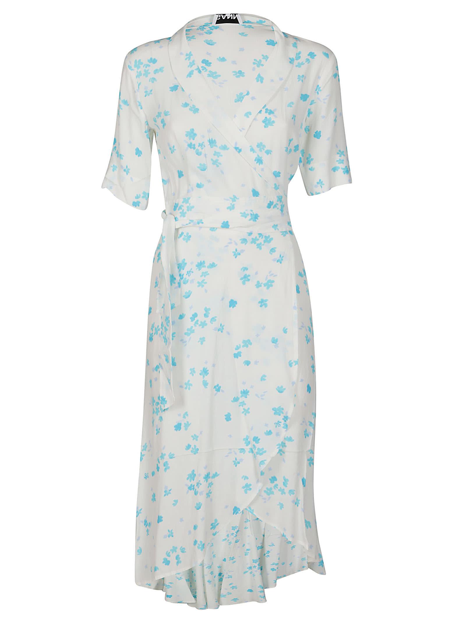 White And Light Blue Viscose-linen Blend Dress
