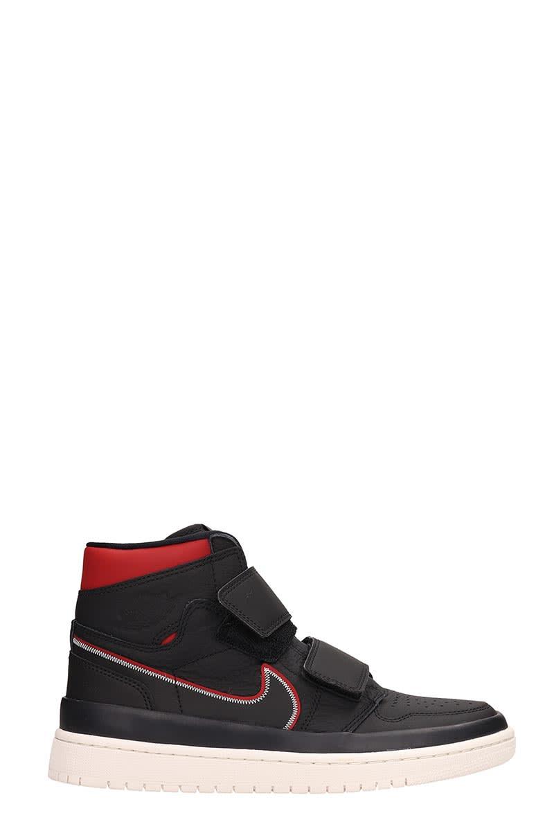pretty nice c5abd 5e3ce Nike Air Jordan 1 Retro High Double Strap Black Leather Sneakers