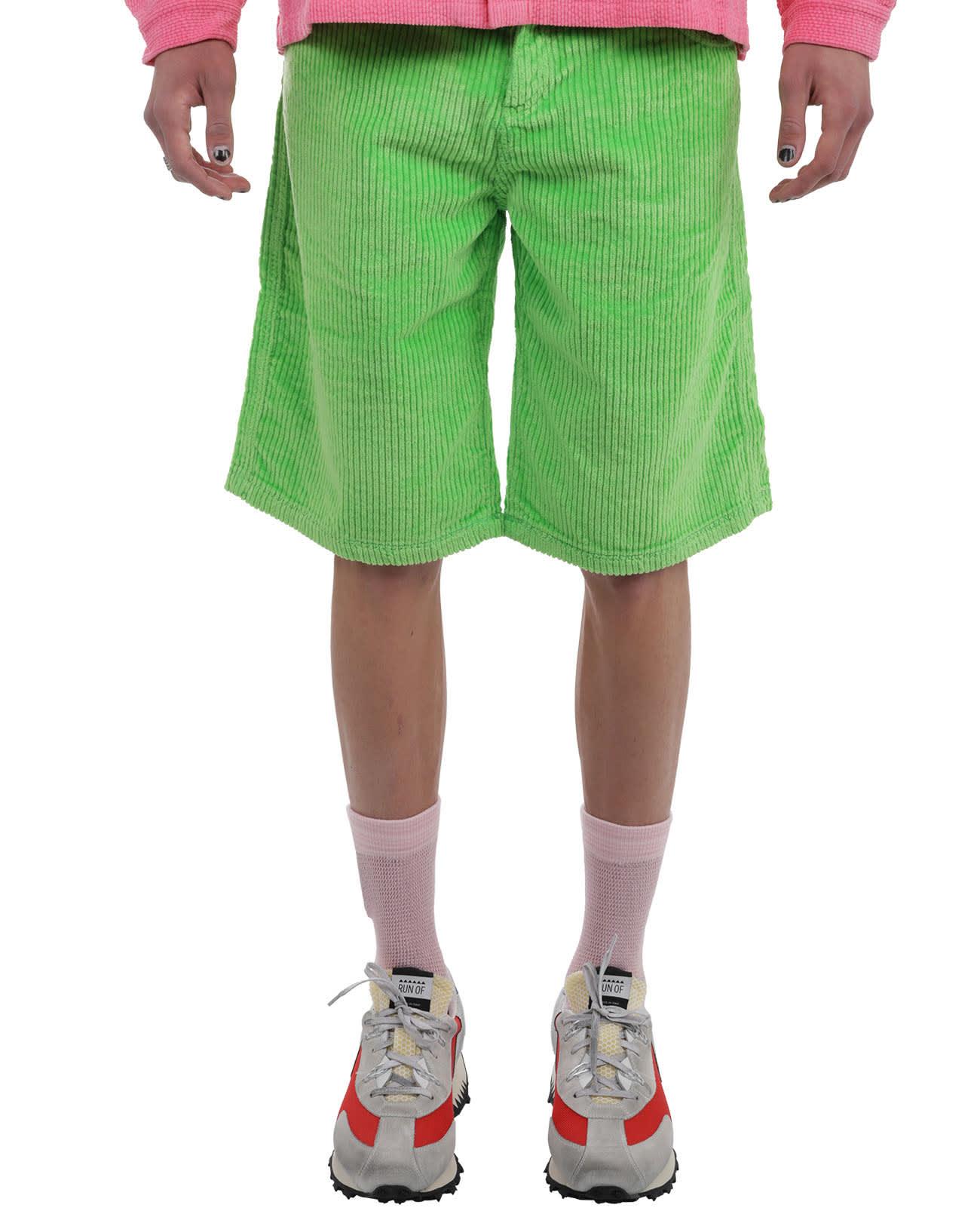 Erl Clothing ERL GREEN CORD BERMUDAS