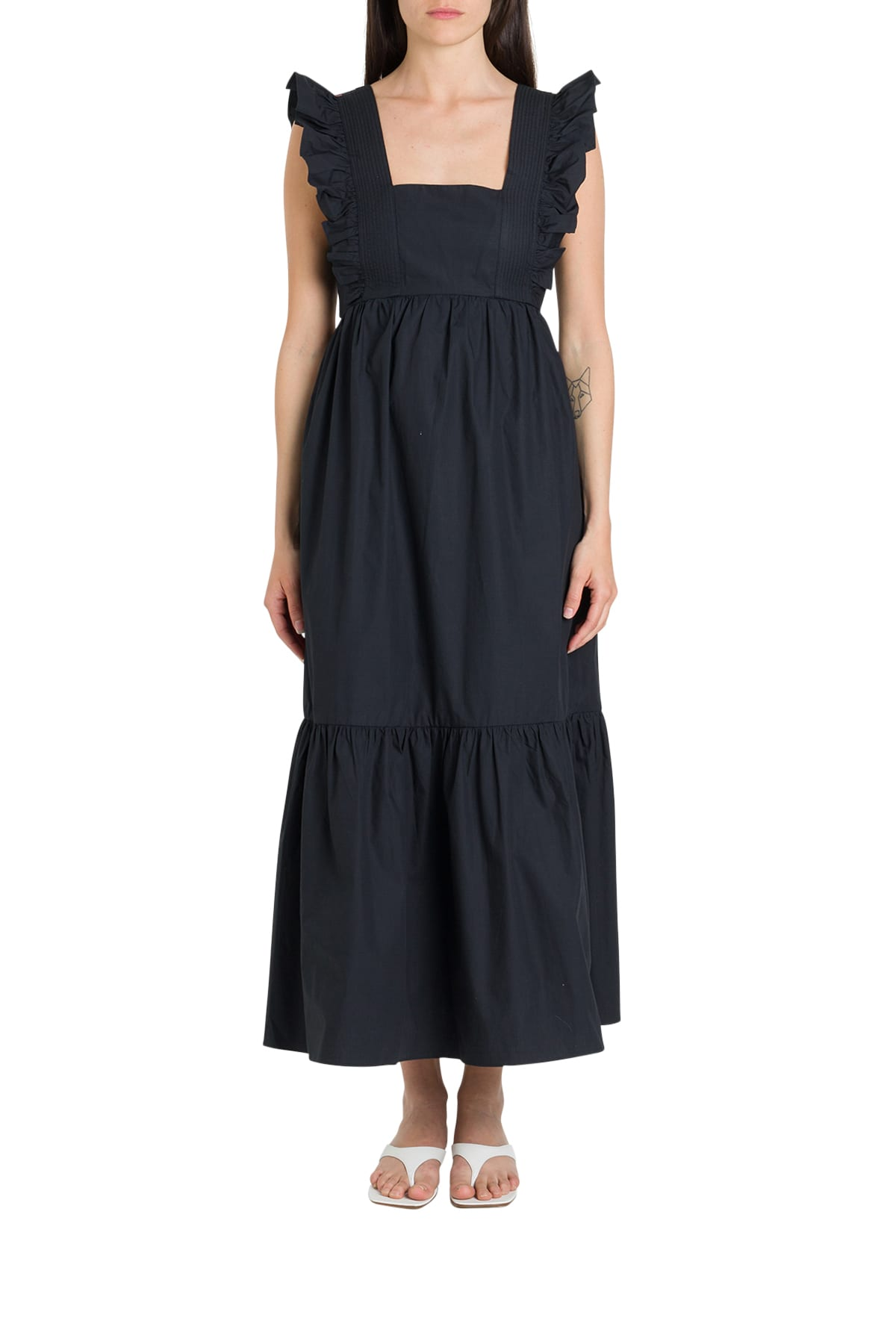 Buy self-portrait Black Cotton Poplin Midi Dress online, shop self-portrait with free shipping