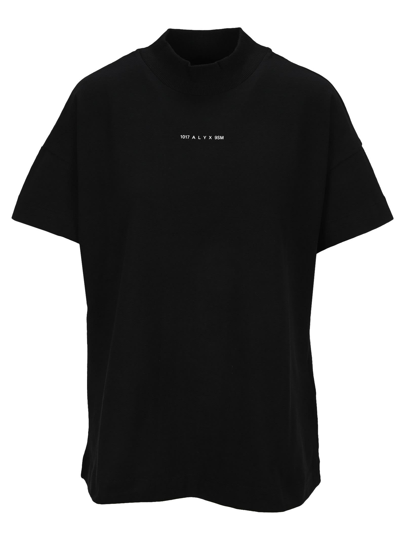 Alyx Logo Mock Neck Tee In Black