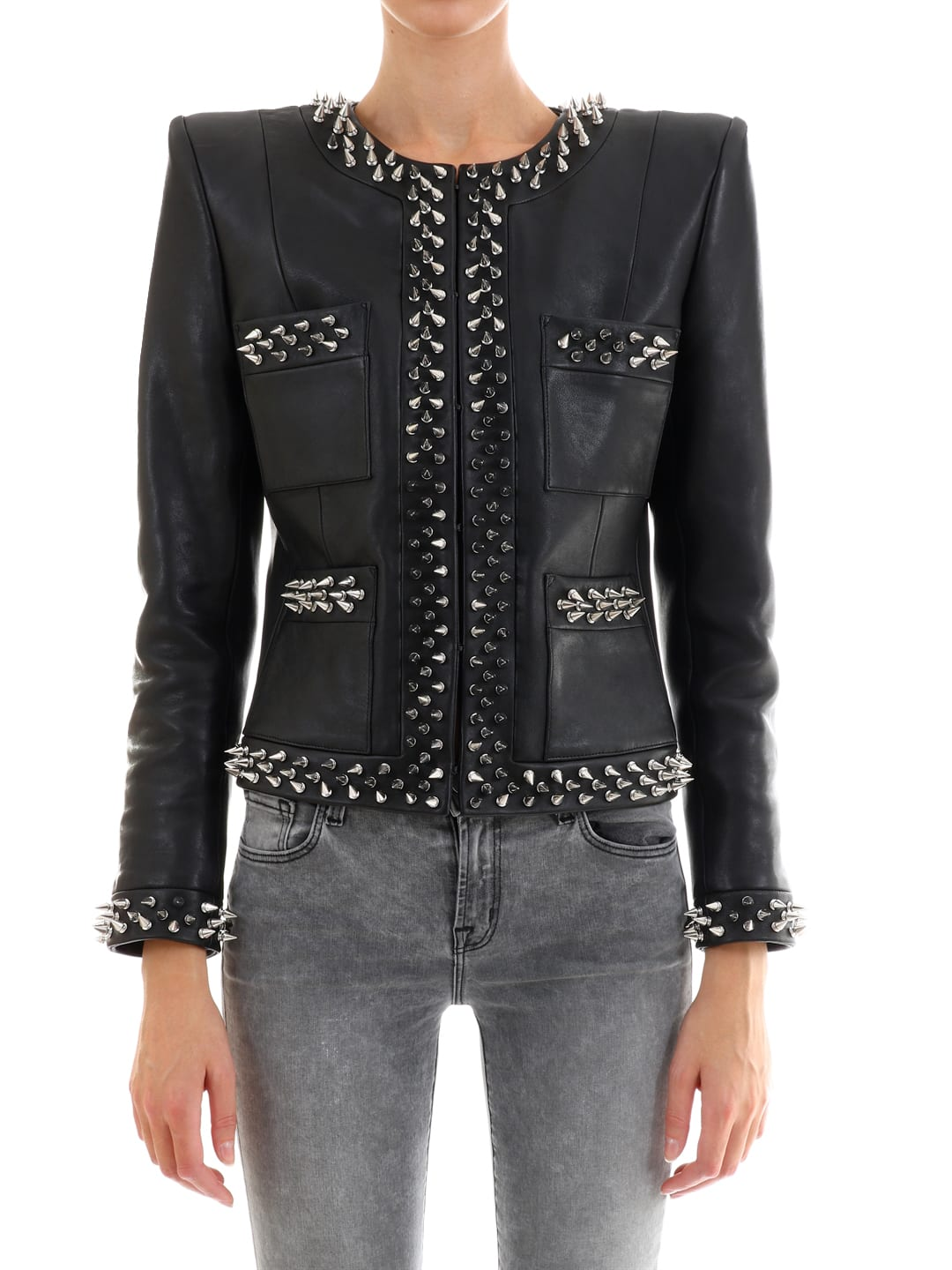 Balmain Leather Jacket With Studs