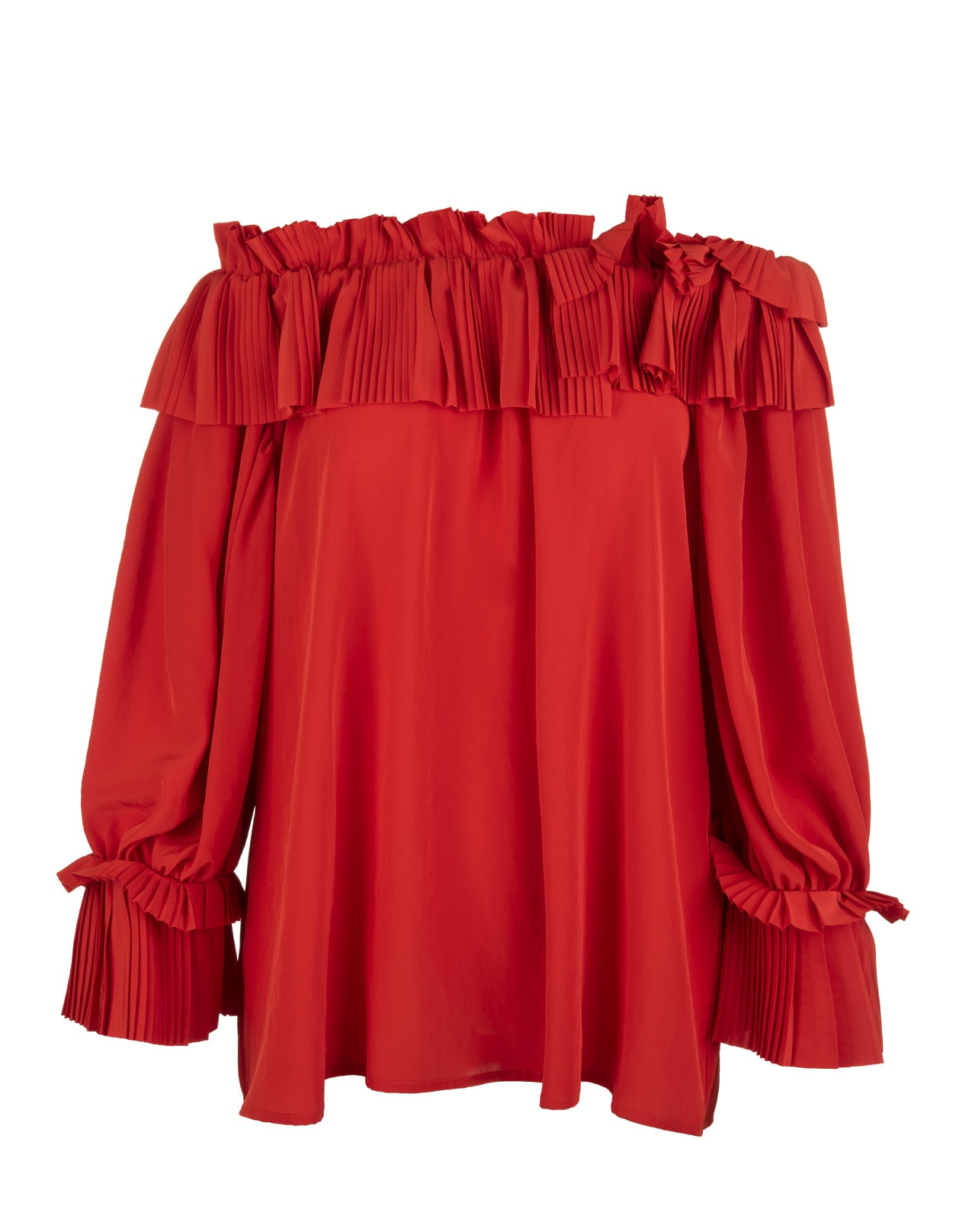 A.R.O.H. red blouse with uncovered shoulders, pleated ruffle neckline and long soft sleeves with cuffs embellished with pleated ruffles. Soft fit. Composition: 100% Polyester