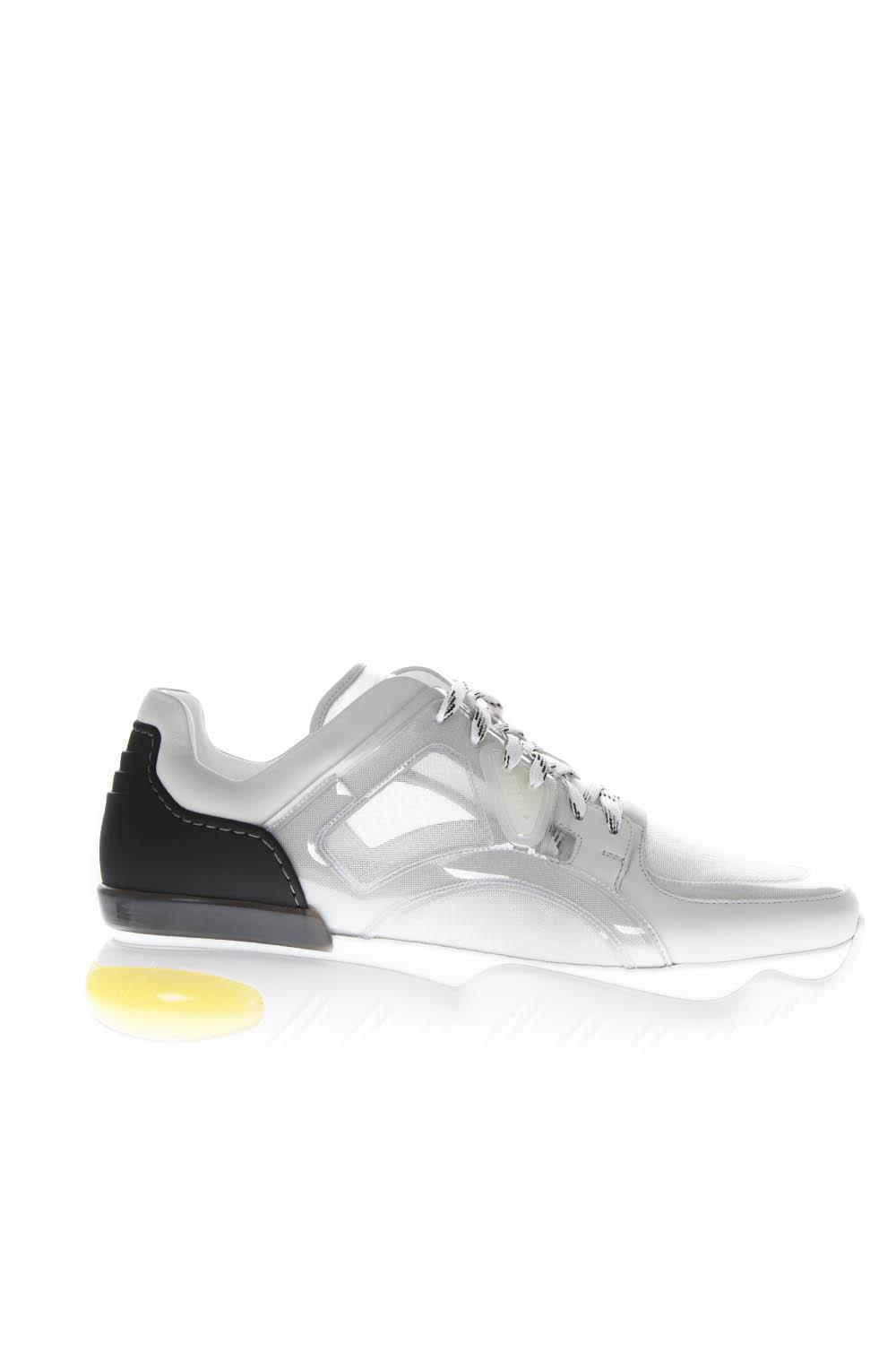 86b87d1040 Fendi White/black Technical Mesh And Leather Sneakers
