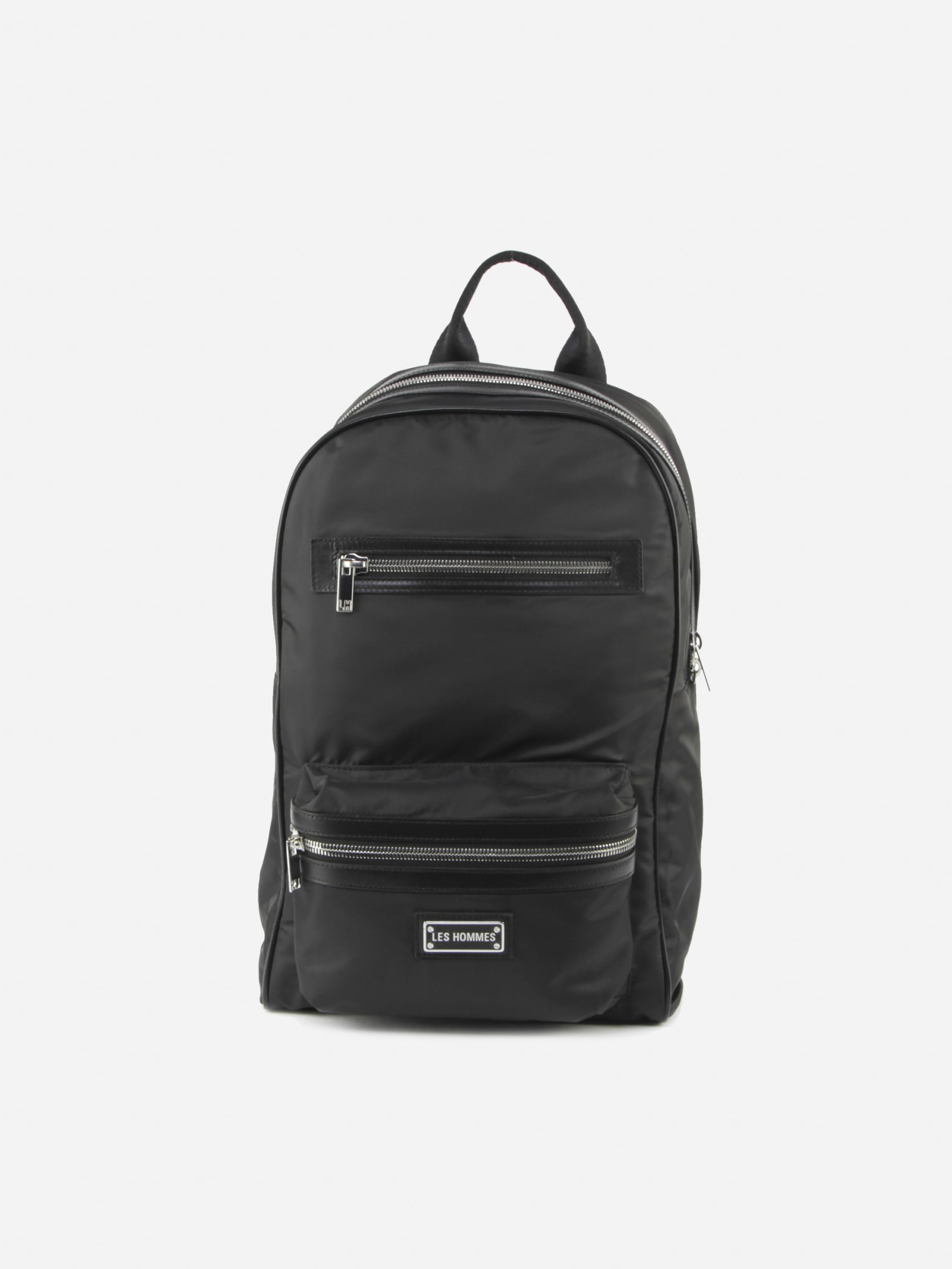 Les Hommes Backpacks NYLON BACKPACK WITH METAL LOGO DETAIL