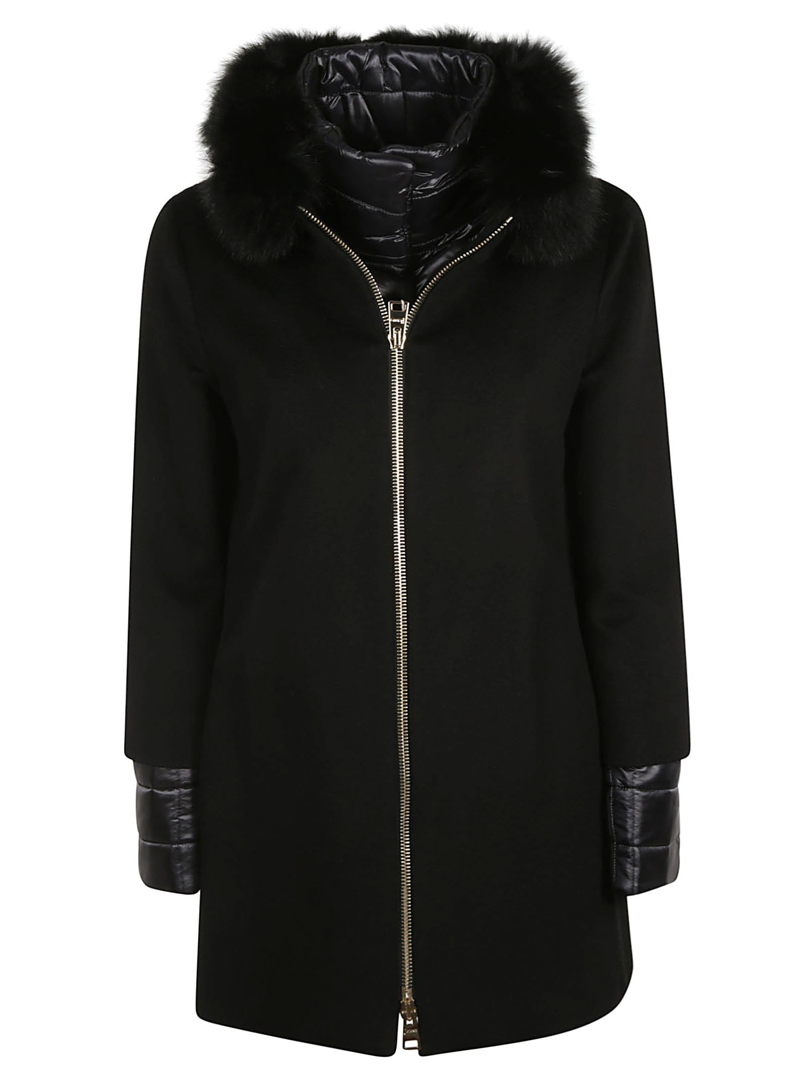 Herno Furry Collar Padded Sleeve Zipped Parka