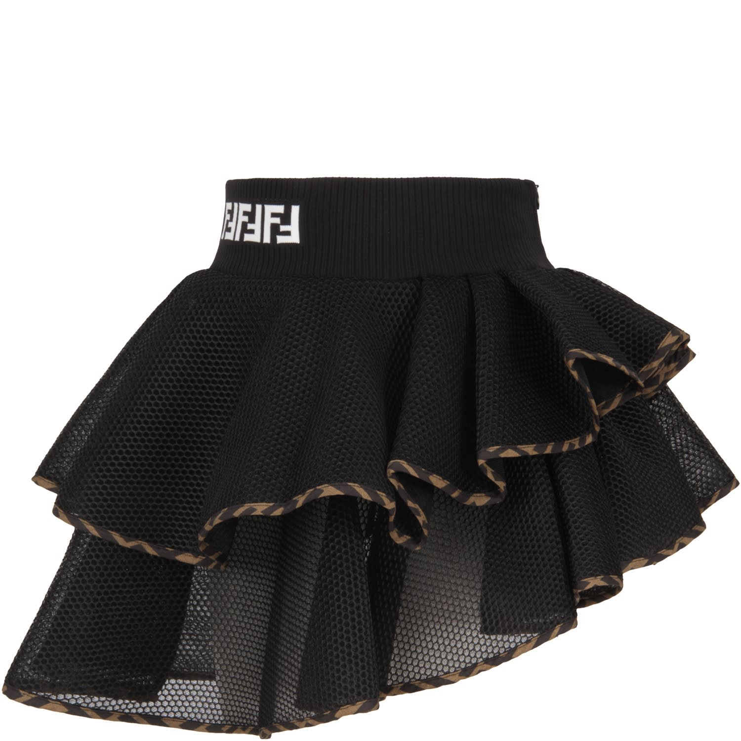 Fendi BLACK GIRL SKIRT WITH LOGO