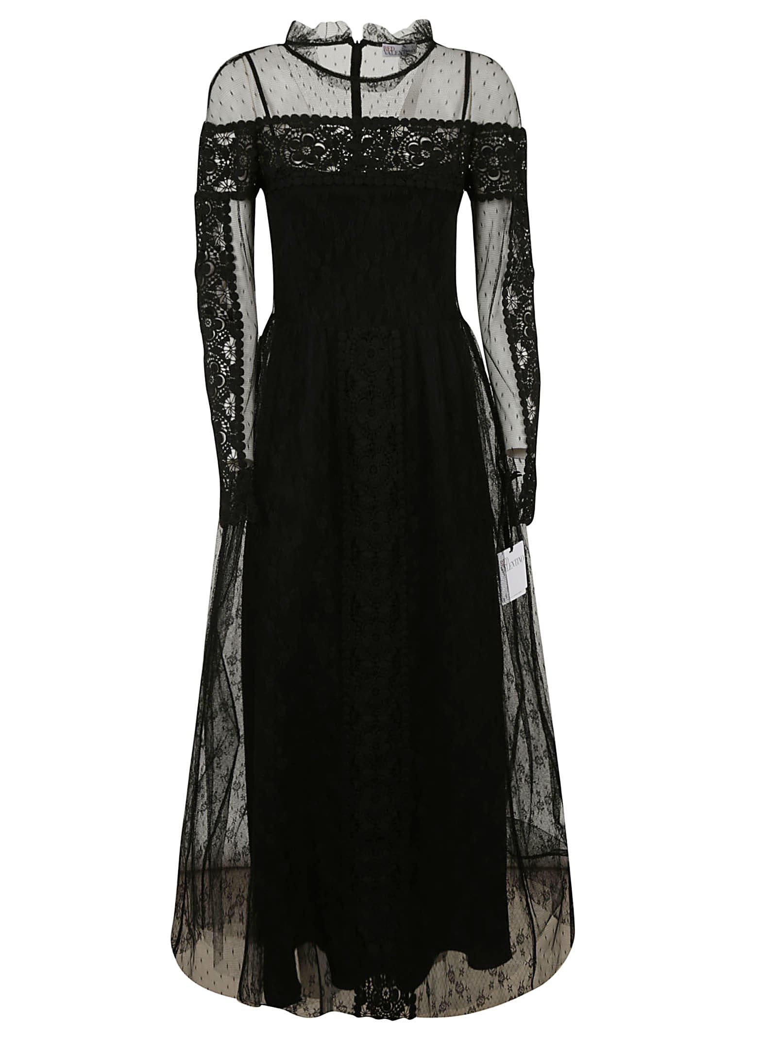 Buy RED Valentino Laced Sleeve Maxi Dress online, shop RED Valentino with free shipping