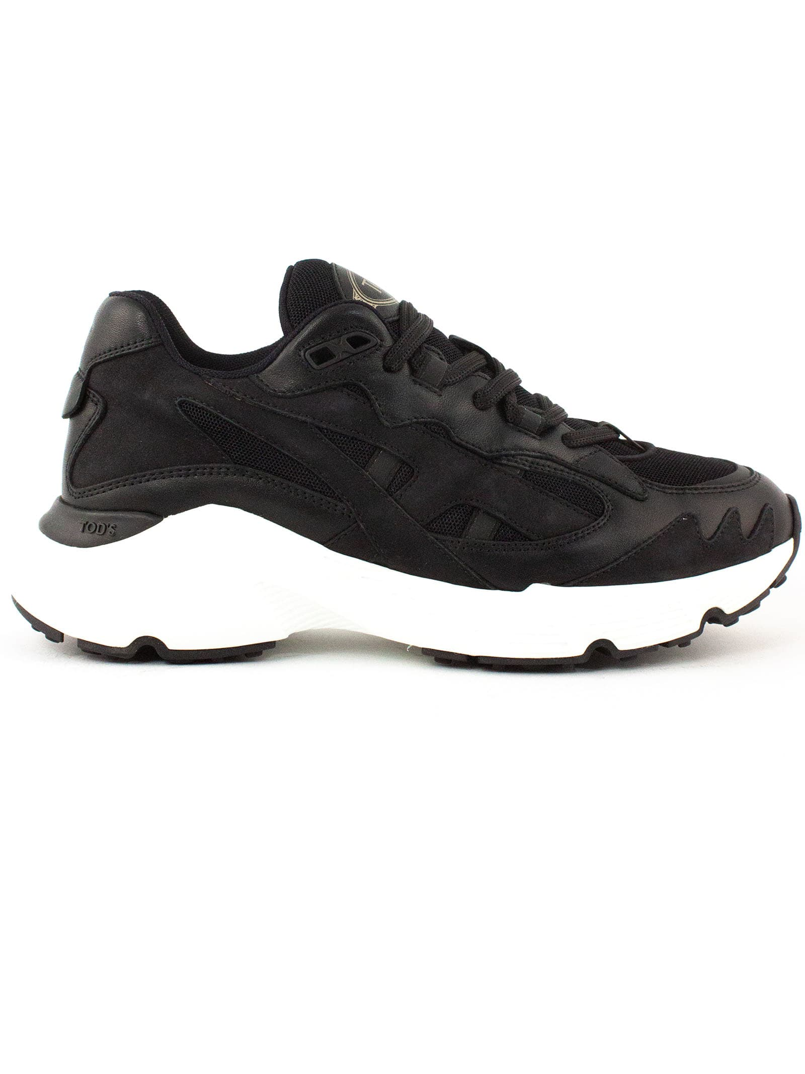 Tods Sneakers In Black Leather/fabric