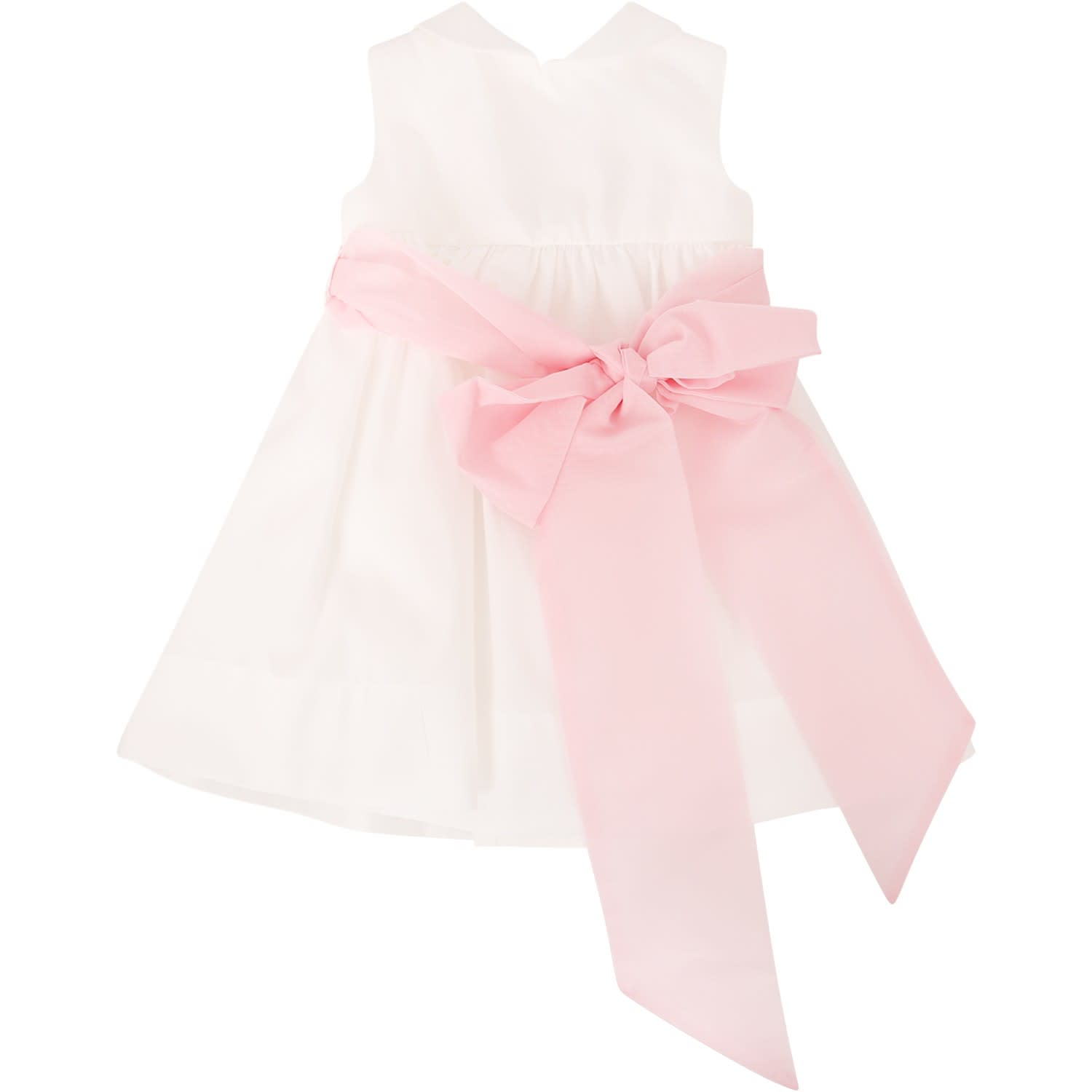 Little Bear White Dress With Pink Bow