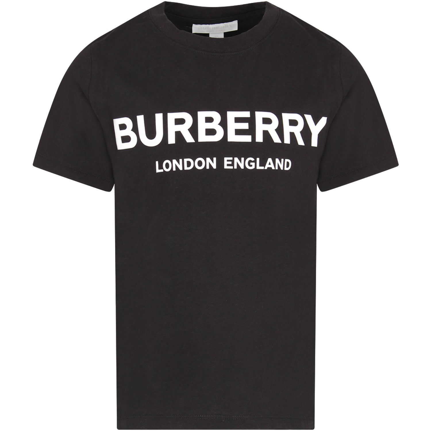 Burberry Kids' Black T-shirt With White Logo For Girl