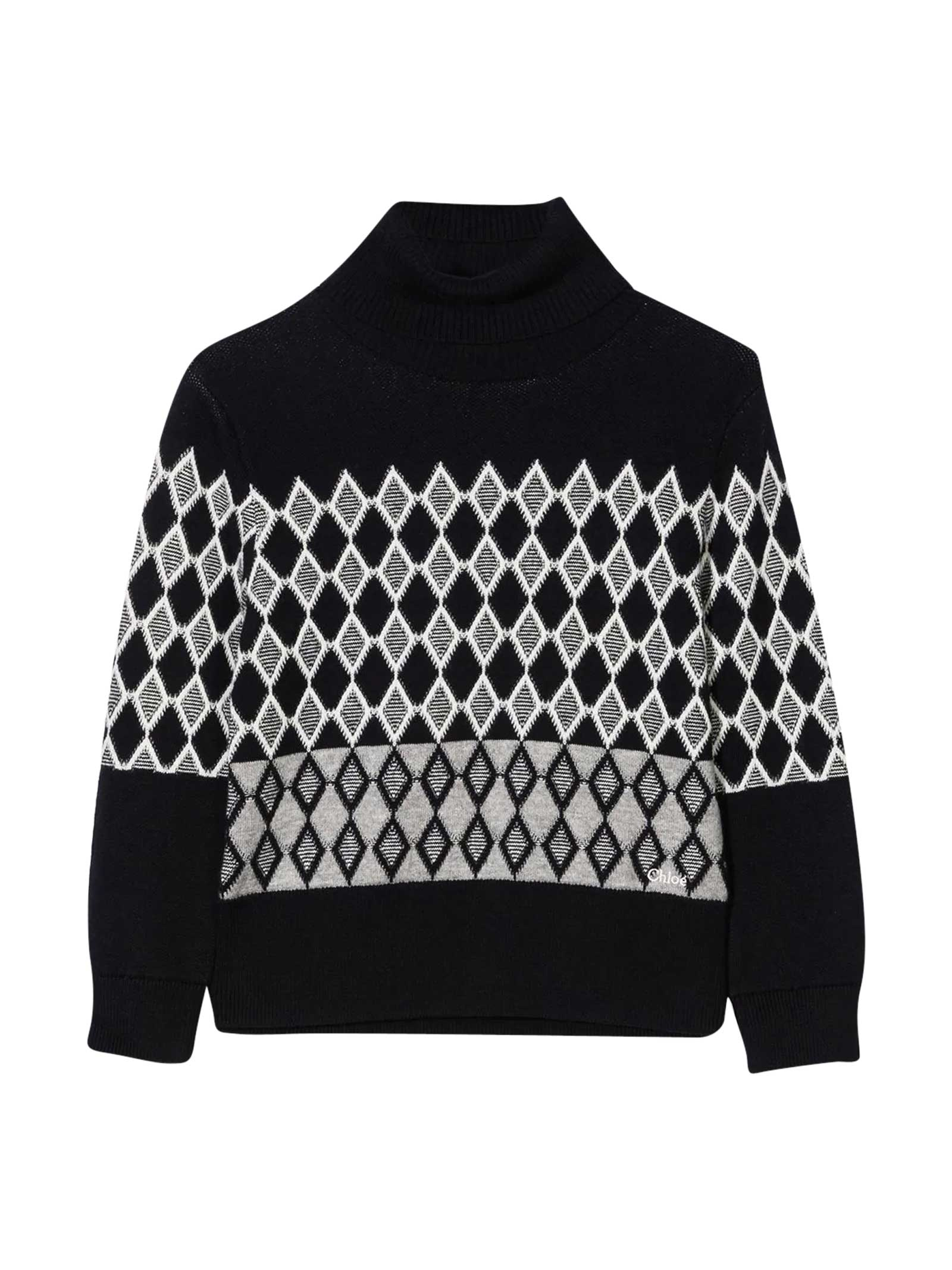Marine diamond knit sweater teen Chloé kids with roll neck. Cotone 90%, Lana 10%