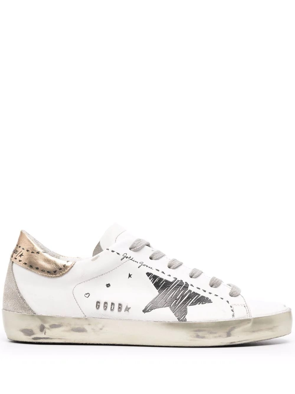 Golden Goose Woman White Super-star Sneakers With Printed Details And Golden Spoiler