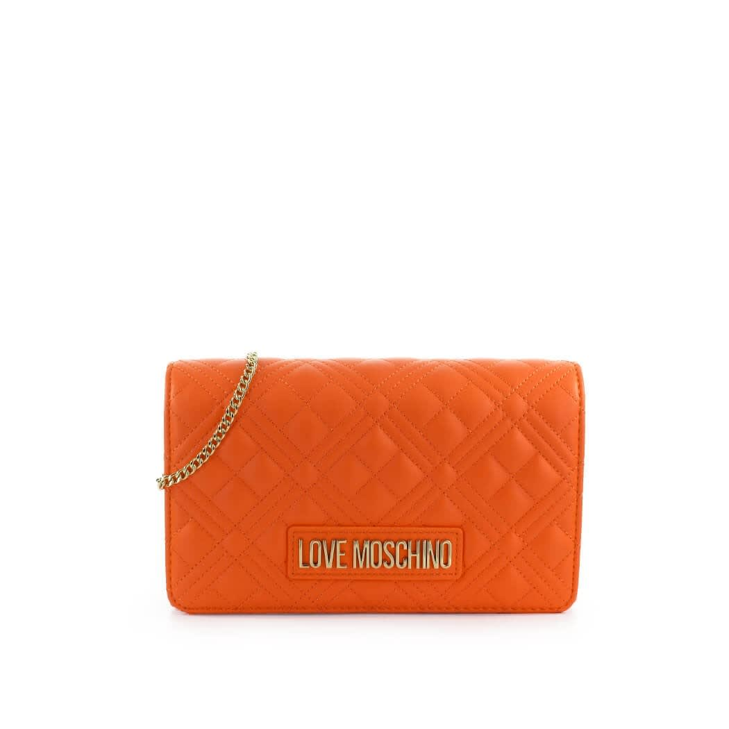 Love Moschino Clutches QUILTED ORANGE NAPPA CLUTCH