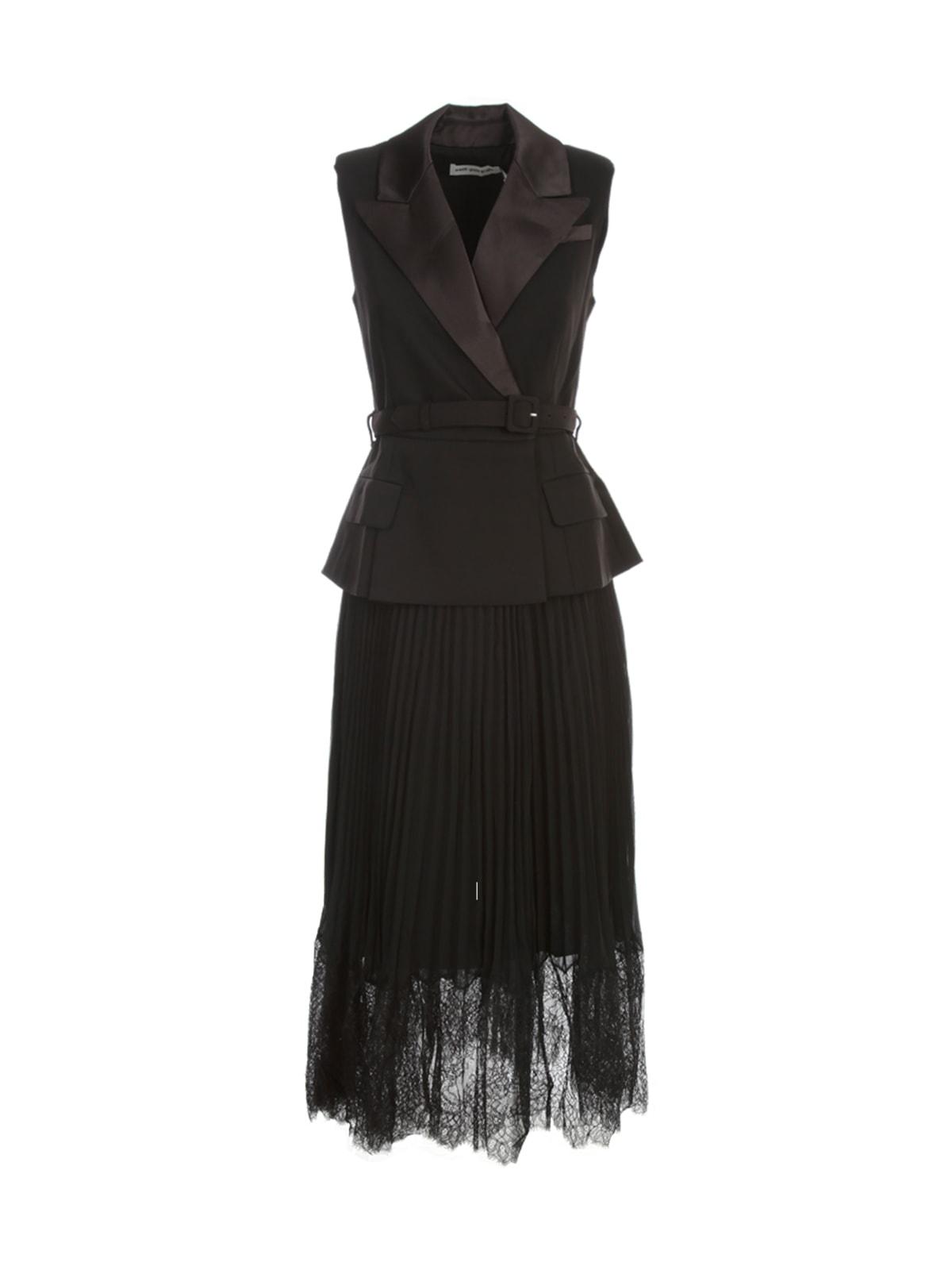 self-portrait Tailored Crepe And Chiffon Midi Dress