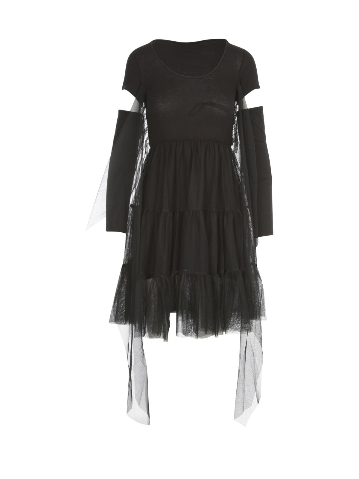 Tulle S/s Mini Dress W/sleeves