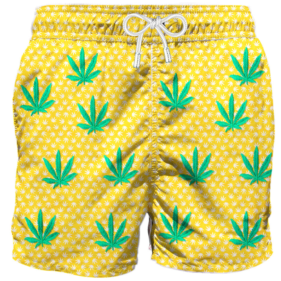 Embroidered Leaves Mid-length Swim Short