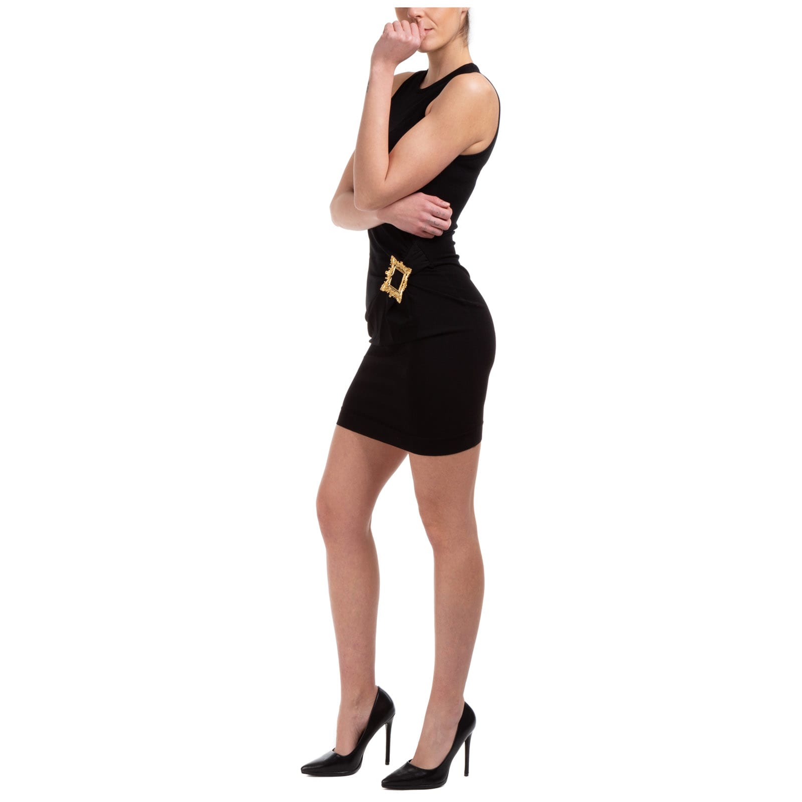 Buy Moschino Gold Frame Mini Dress online, shop Moschino with free shipping