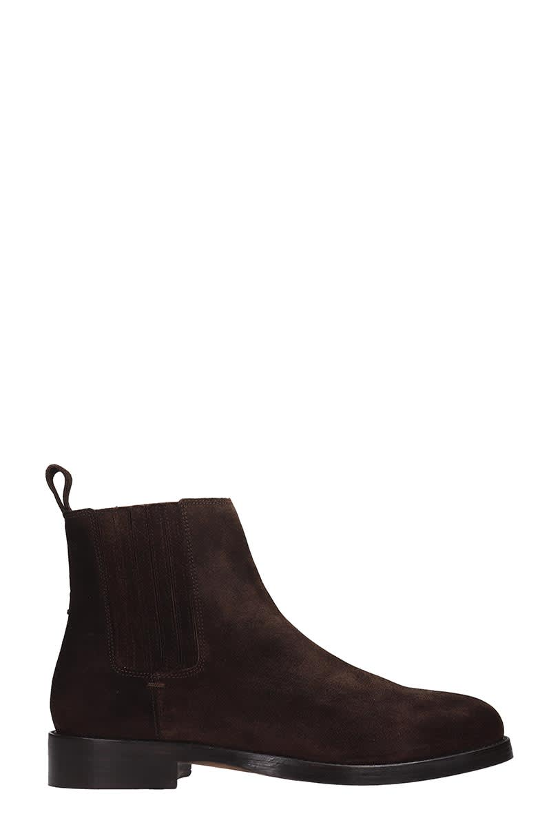 Royal Republiq Bond Chelsea High Heels Ankle Boots In Brown Suede