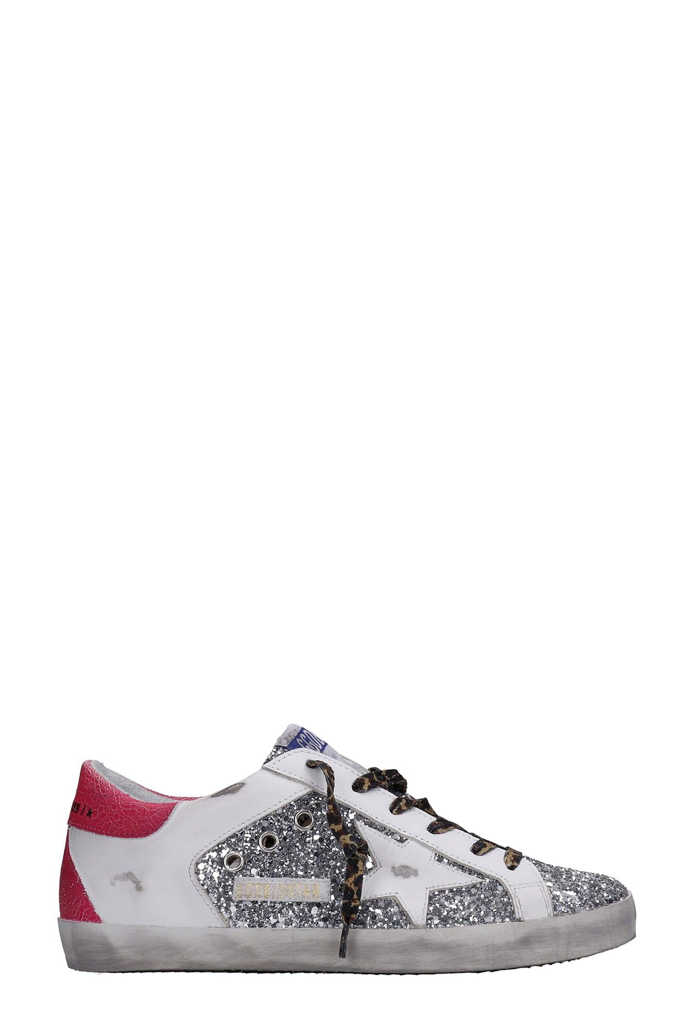 Golden Goose Superstar Sneakers In Silver Glitter