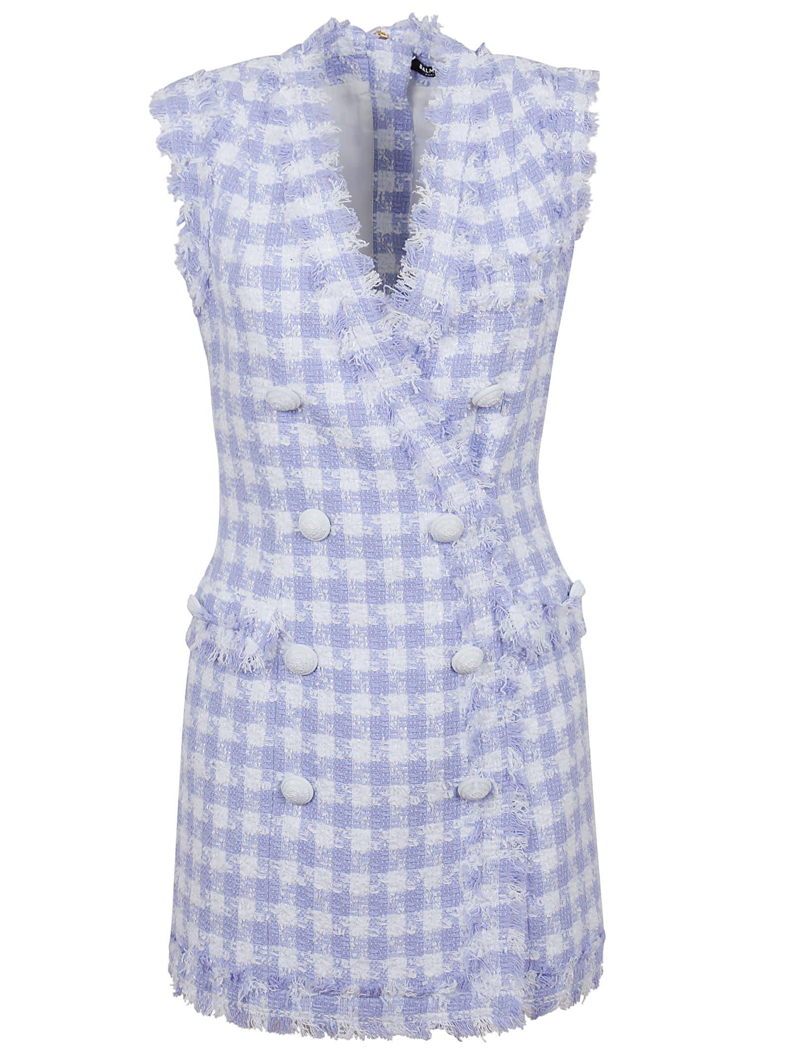 Buy Balmain Sleeveless 8 Btn Gingham Tweed Dress online, shop Balmain with free shipping