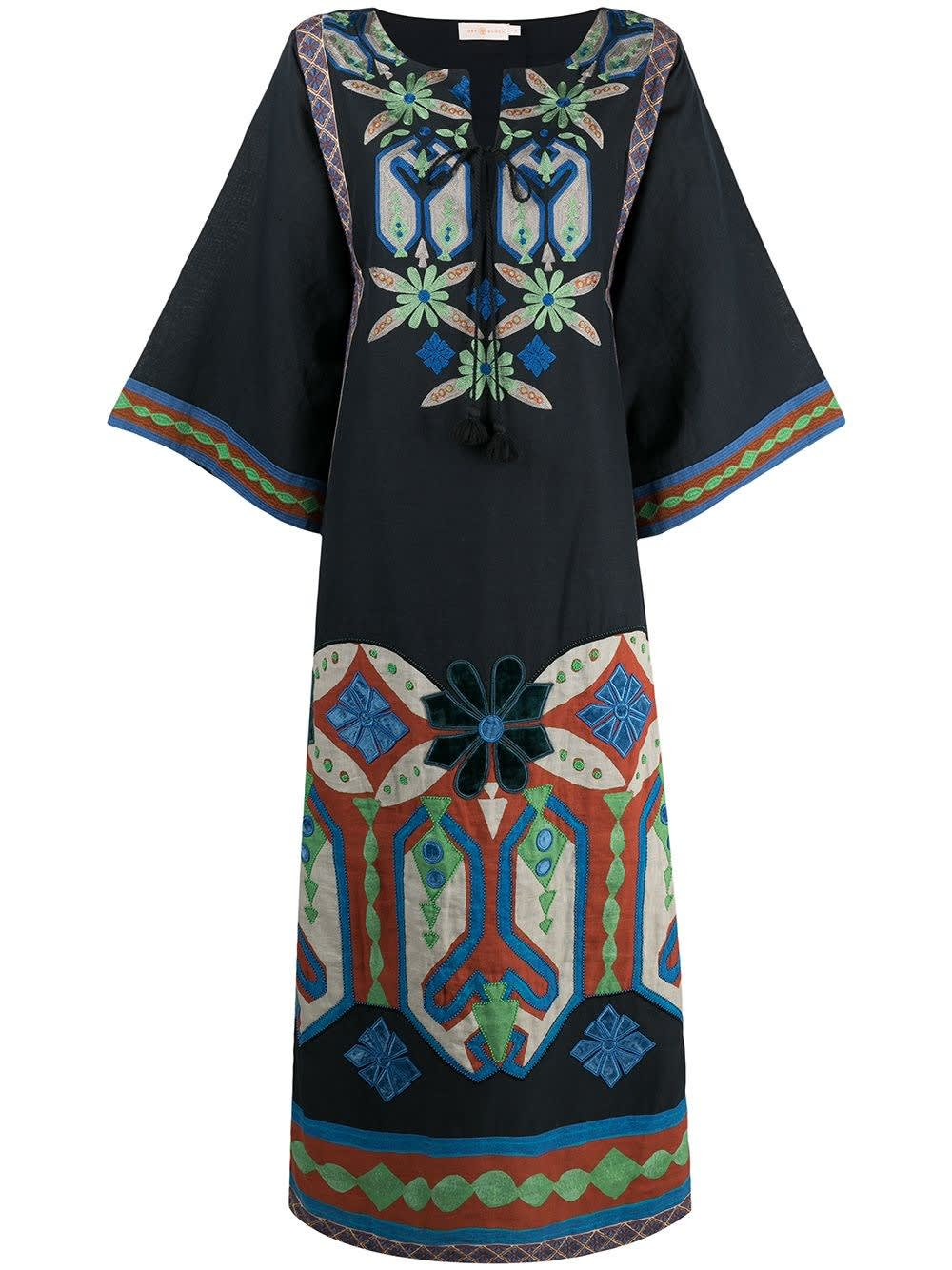 Tory Burch CAFTAN EMBROIDERED IN LINEN BLEND