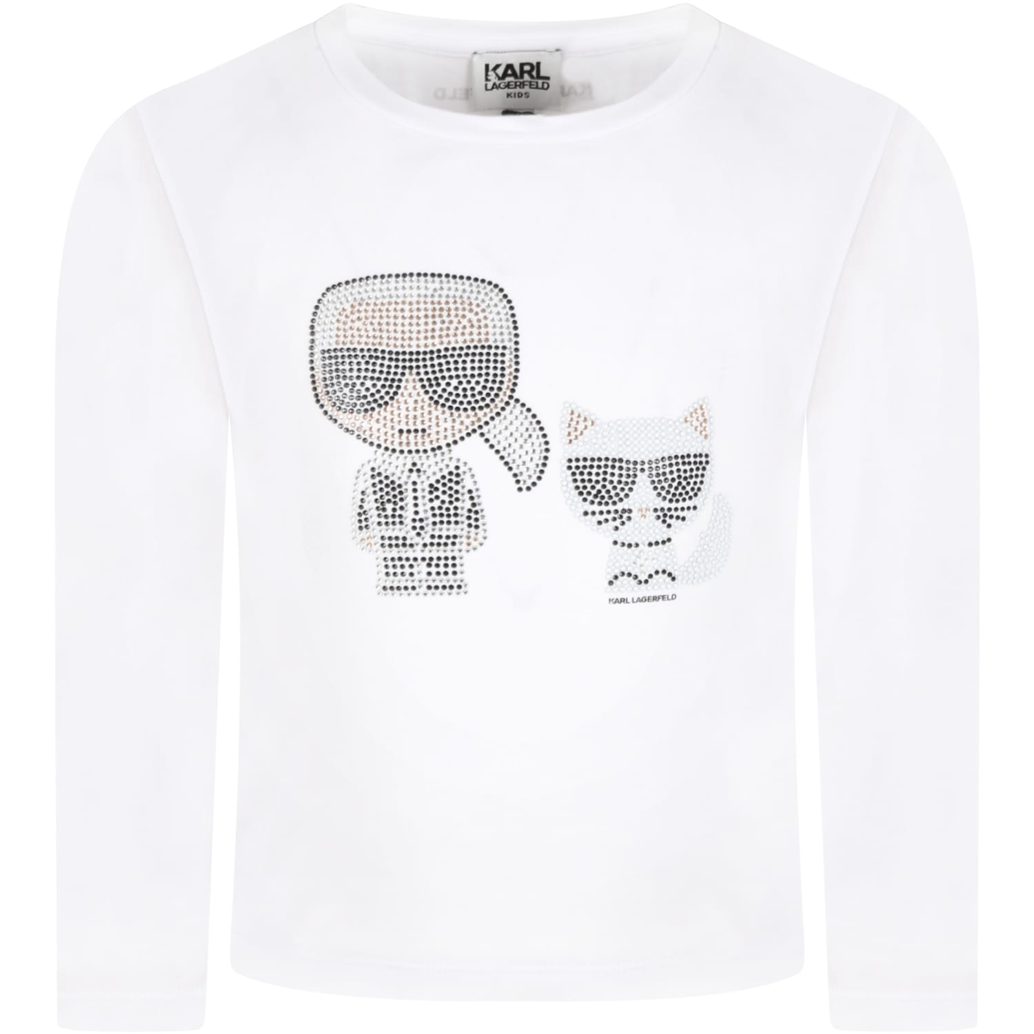 White T-shirt For Girl With Karl