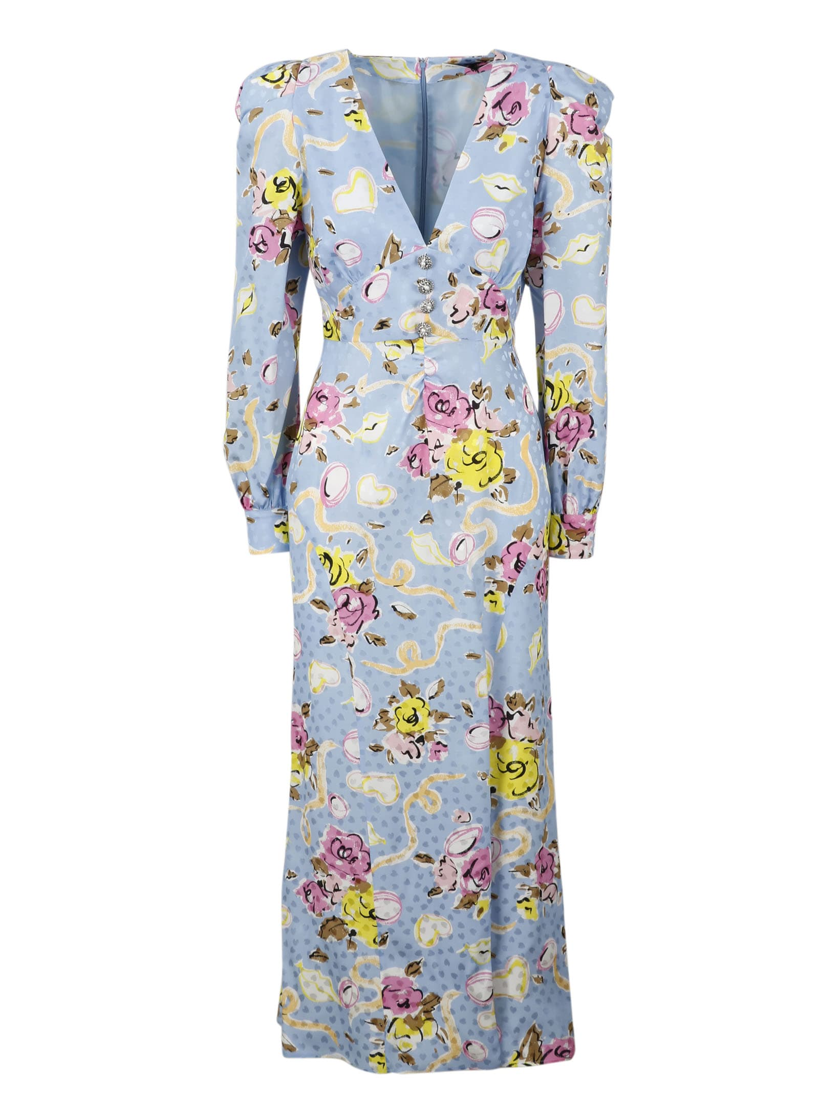 Buy Alessandra Rich Printed Silk Long Dress online, shop Alessandra Rich with free shipping