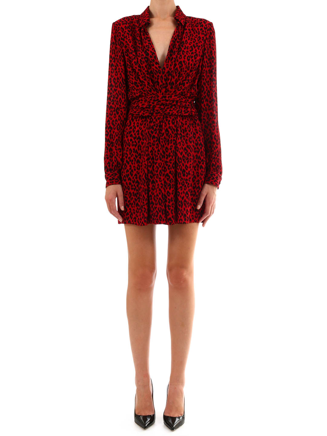 Photo of  Saint Laurent Belted Chemise Dress Leopard Print- shop Saint Laurent  online sales