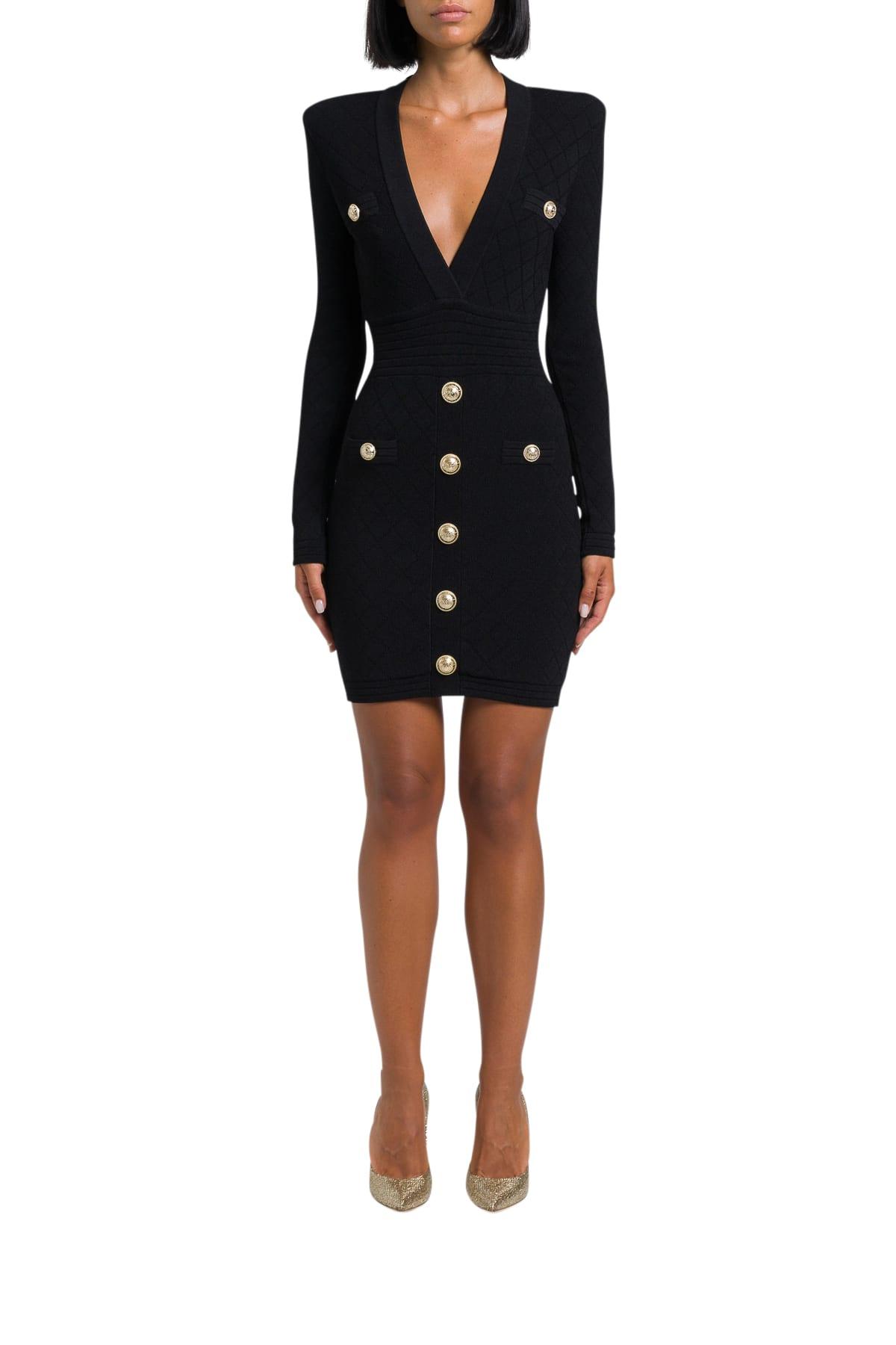 Balmain Jersey Dress With Golden Buttons