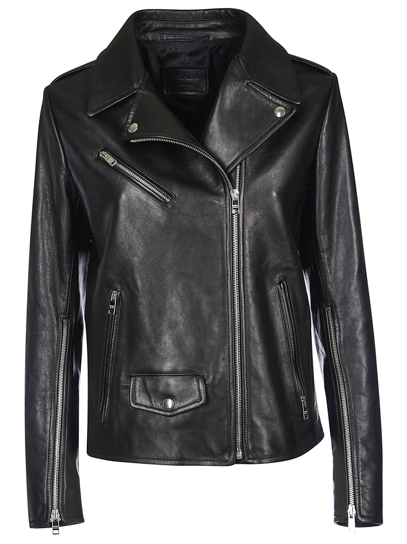 Prada One-sided Zipped Biker Jacket