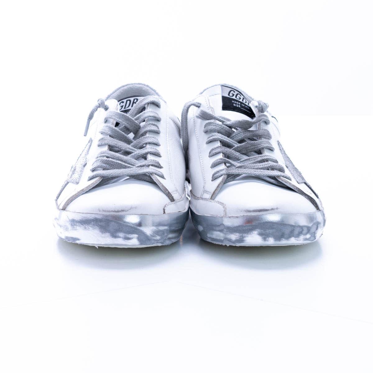 Golden Goose Super Star Leather Sneaker In White - Silver