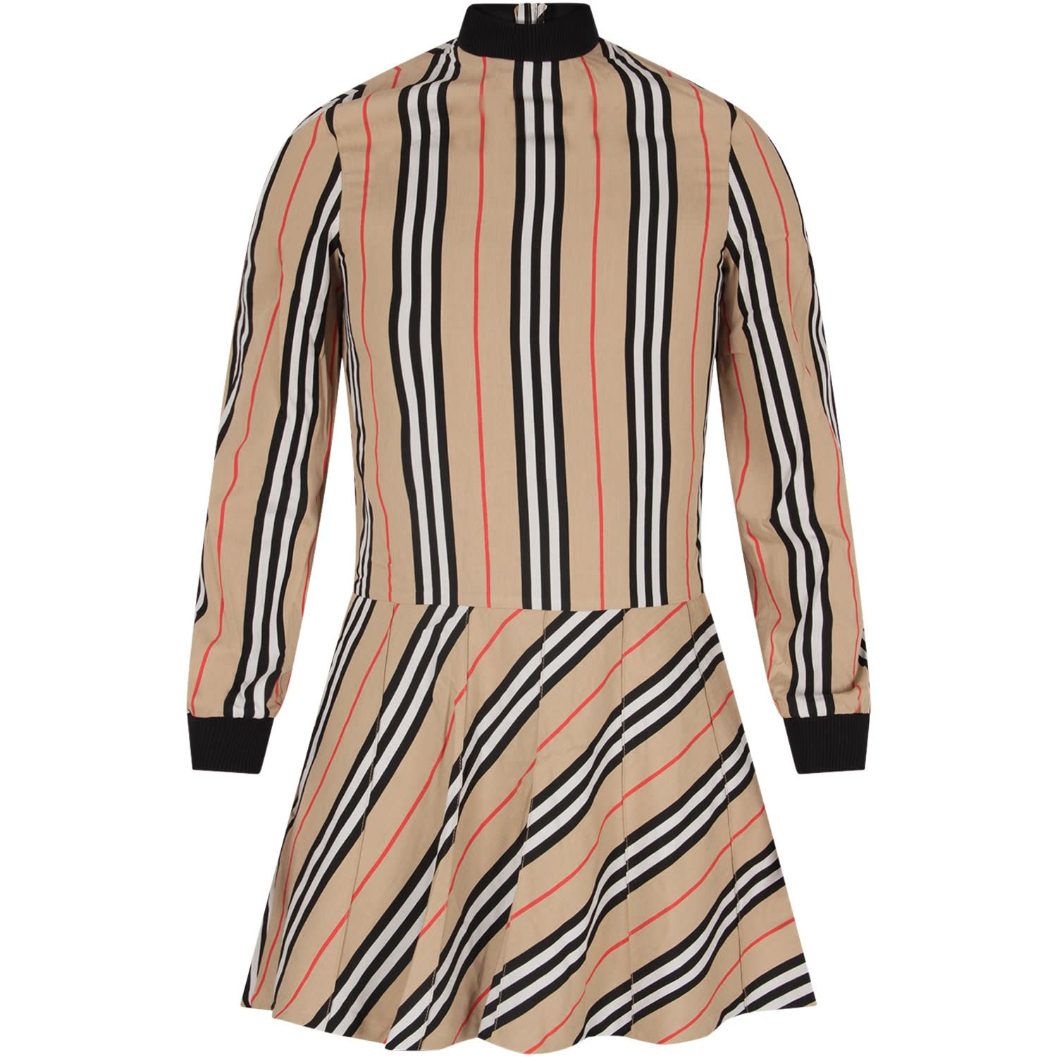 Burberry Beige Girl Dress With Iconic Stripes