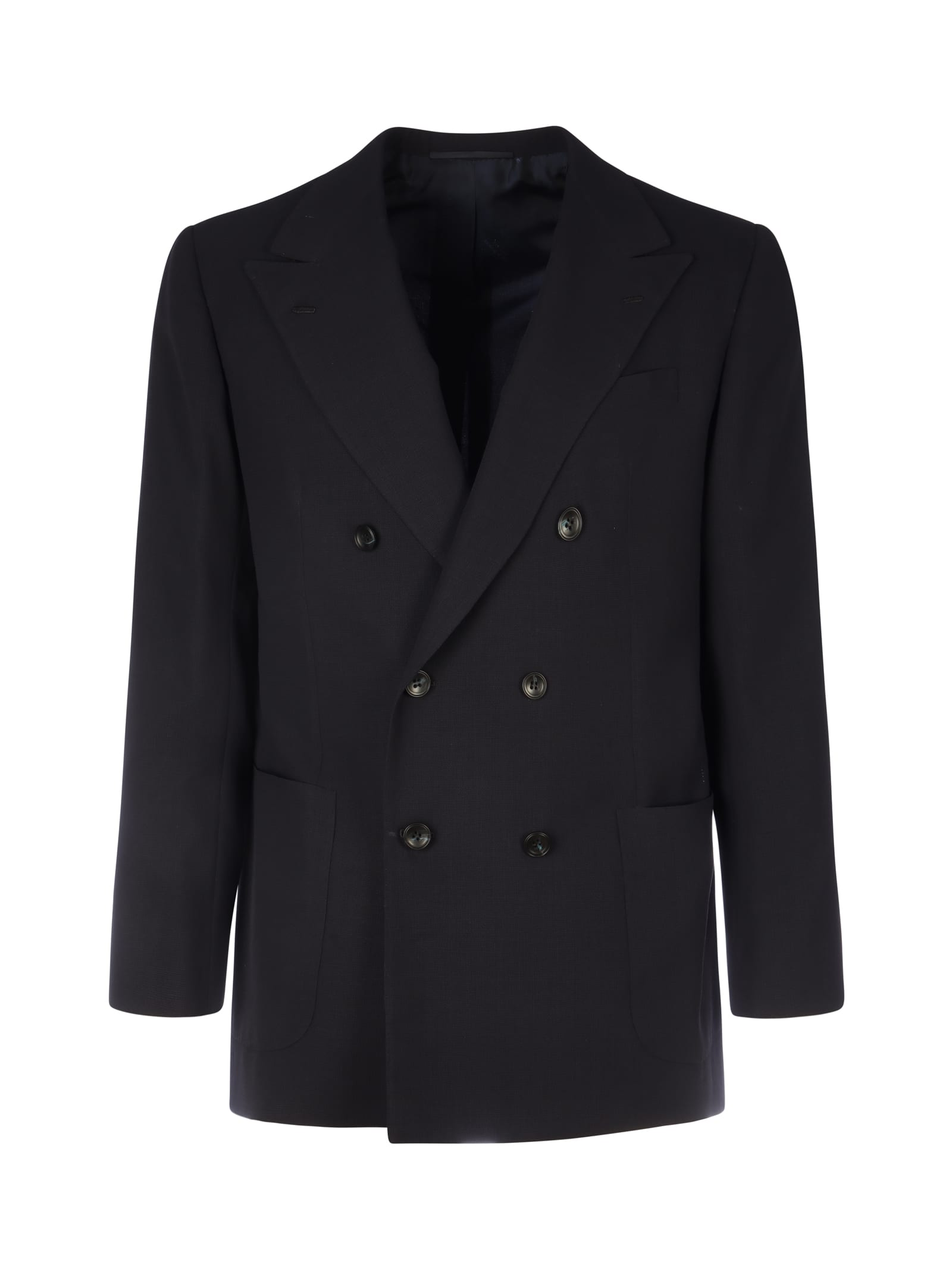 Kiton DOUBLE-BREASTED WOOL BLAZER