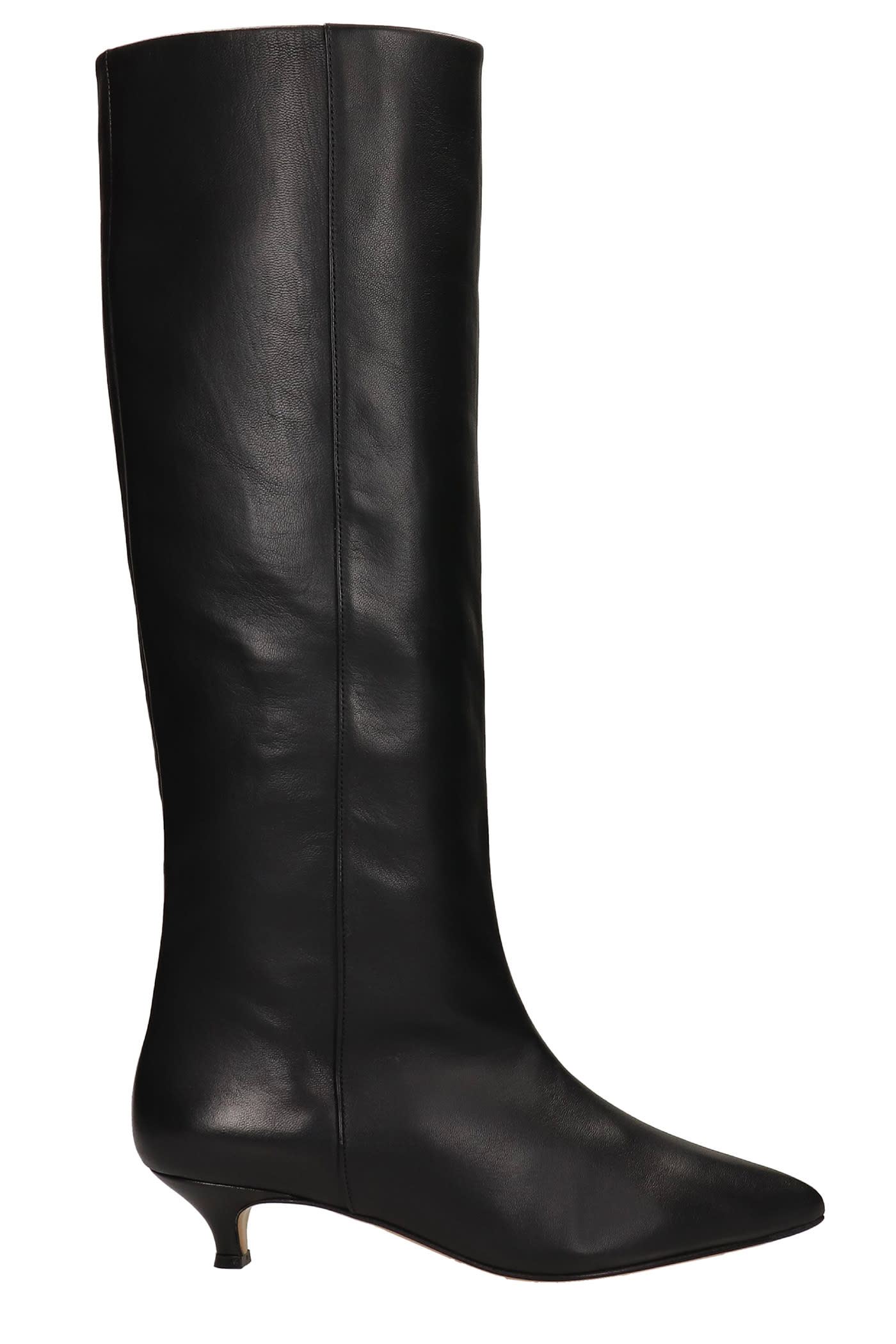Low Heels Boots In Black Leather