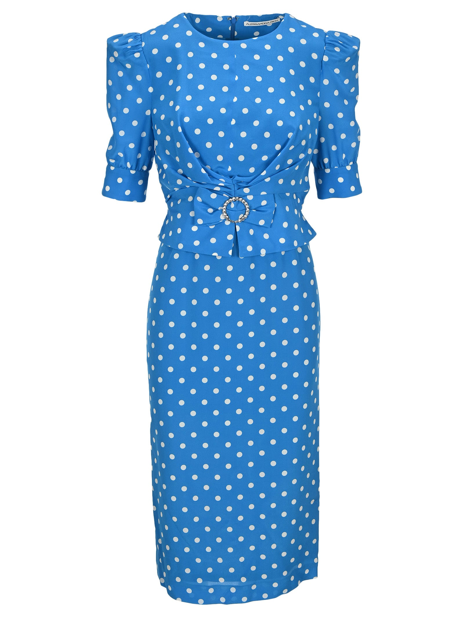 Buy Alessandra Rich Polka Dot Dress With Crystal Buckle online, shop Alessandra Rich with free shipping