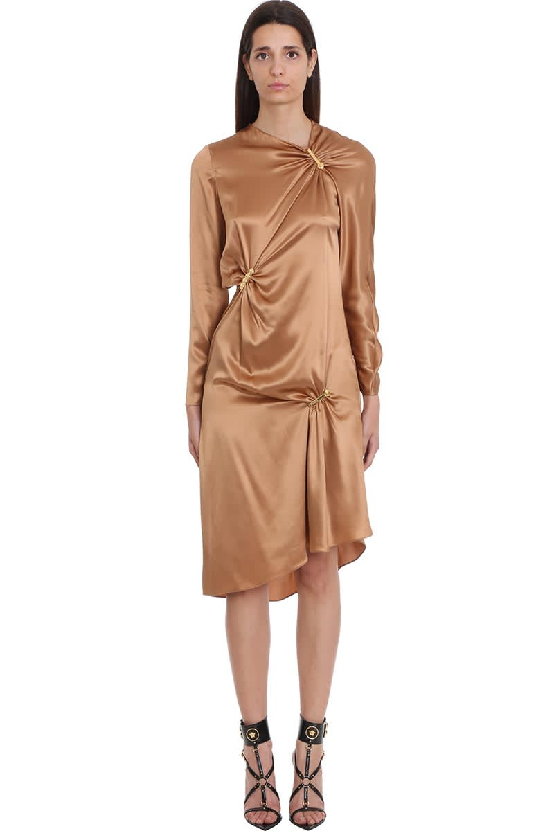 Buy Versace Dress In Brown Silk online, shop Versace with free shipping