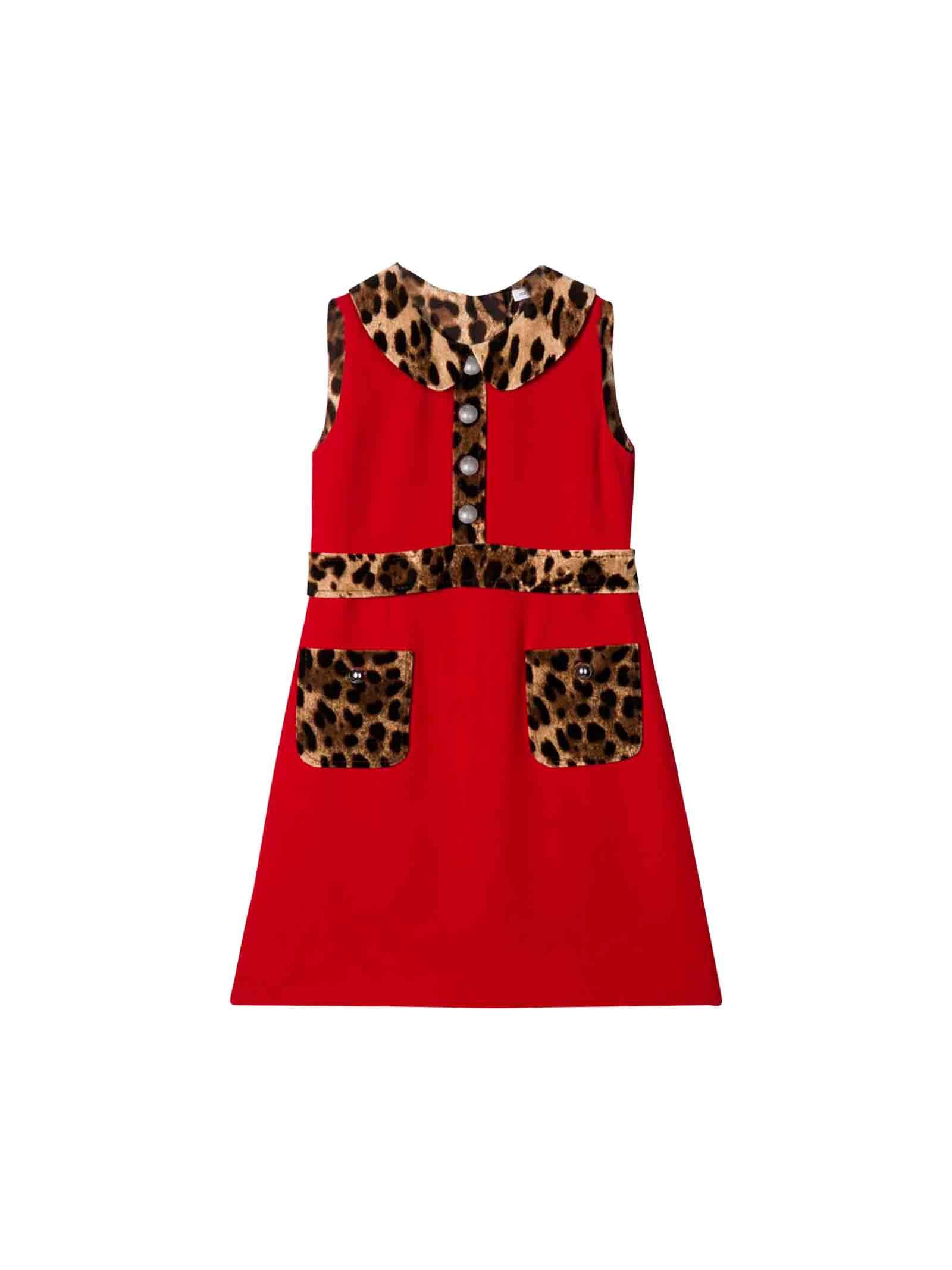 Dolce & Gabbana Red Girl Dress Dolce And Gabbana Kids