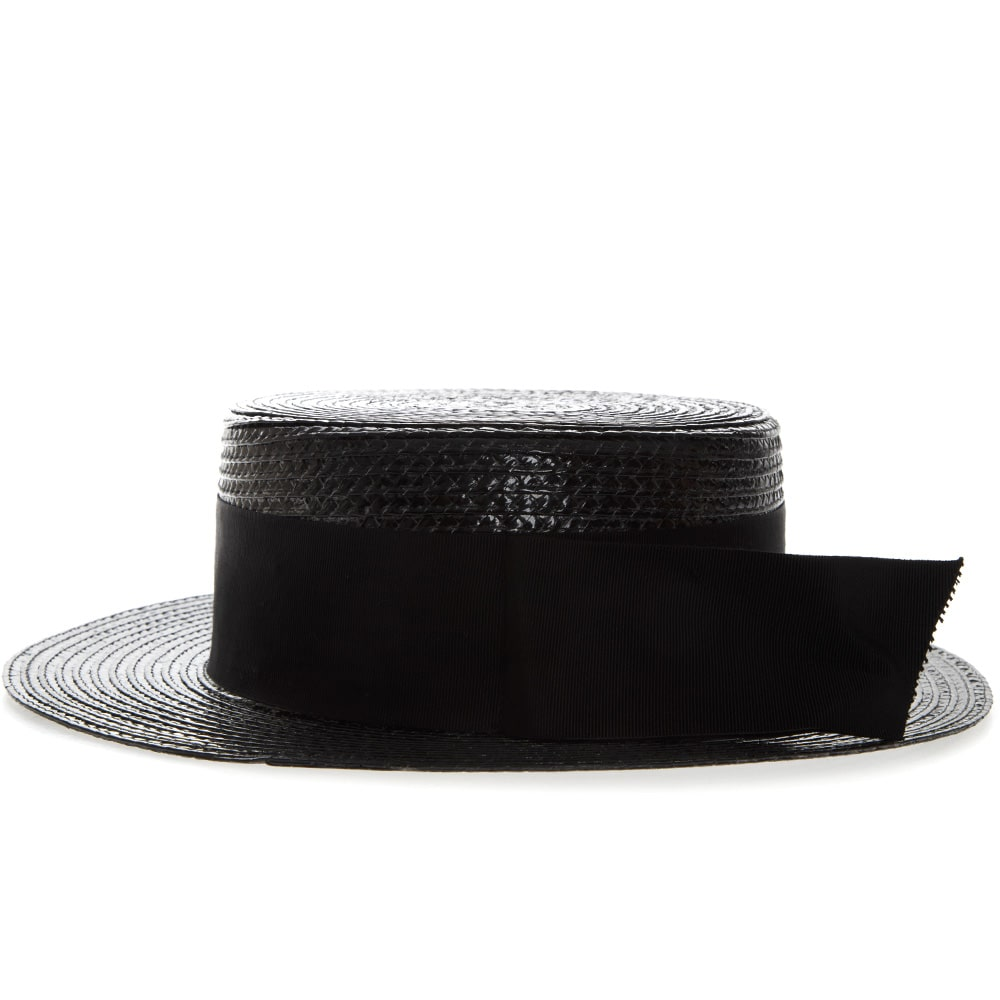 04ae2012848 Saint Laurent Saint Laurent Small Boater Hat In Varnished Straw ...