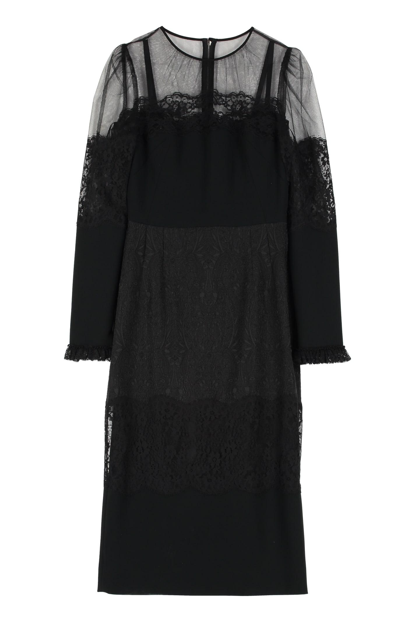 Buy Dolce & Gabbana Cady Midi Sheat-dress online, shop Dolce & Gabbana with free shipping