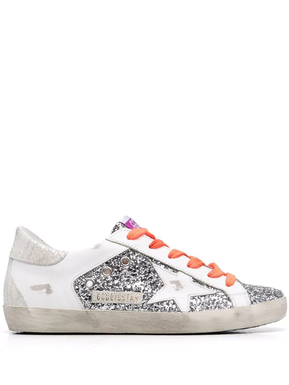 Golden Goose Woman White Leather And Silver Glitter Super-star Sneakers With Fluo Orange Laces