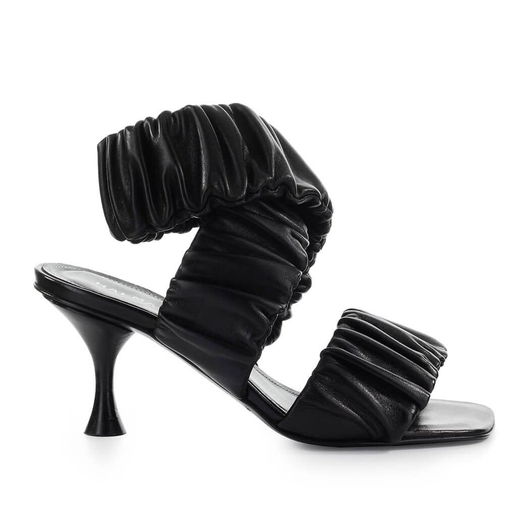 Zena Black Heeled Mules
