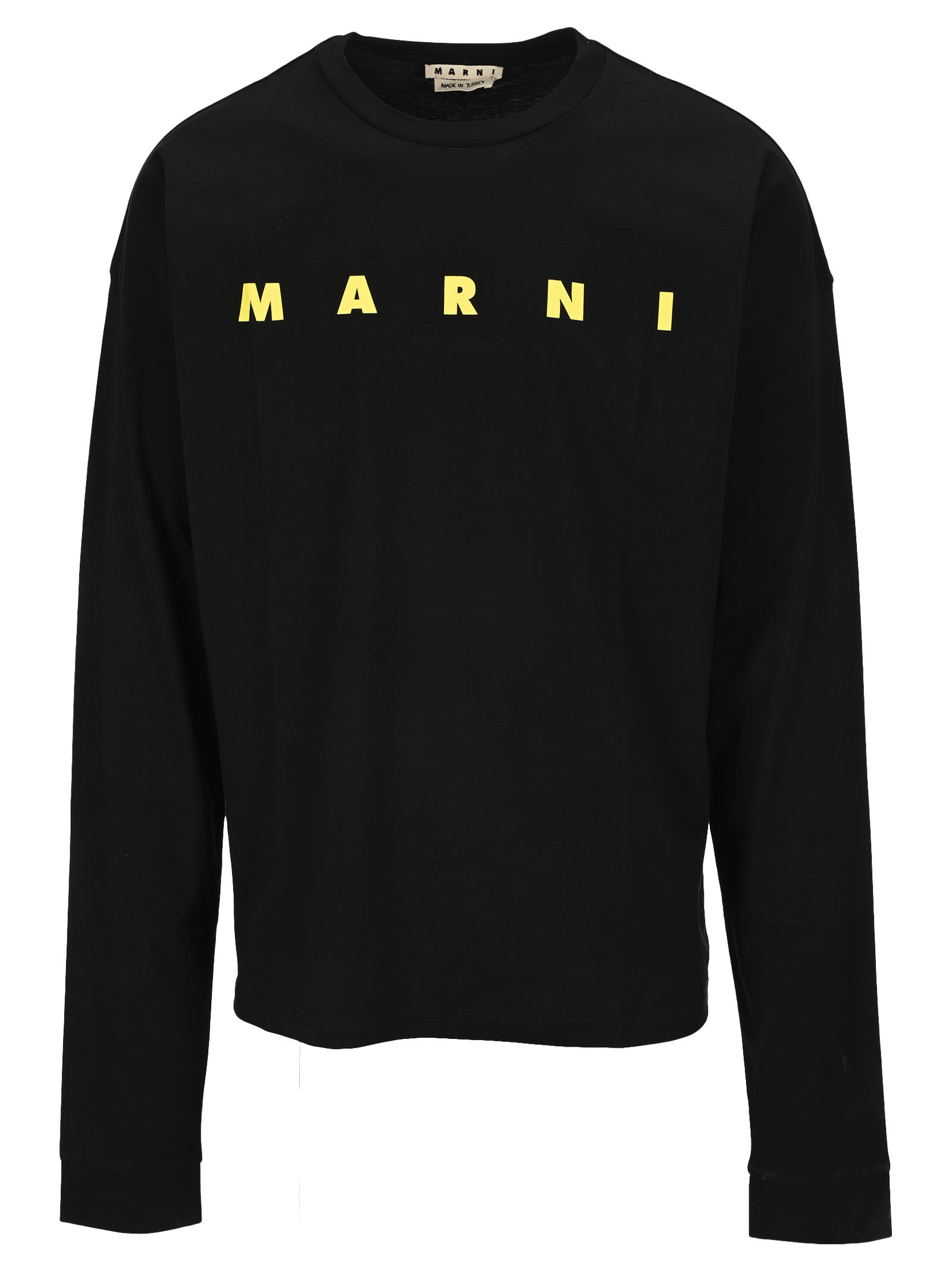 Marni Long Sleeved Organic Jersey T-shirt In Black