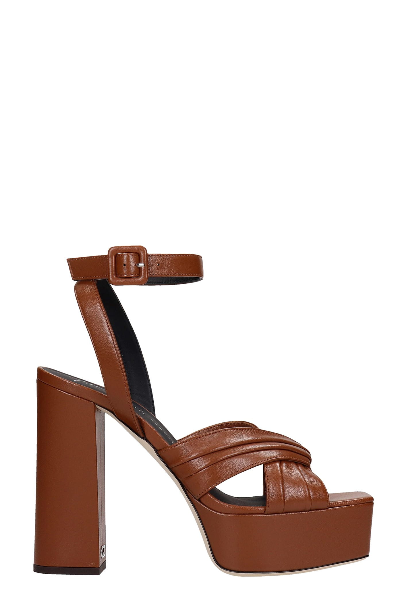 Giuseppe Zanotti Sinuosa Sandals In Brown Leather